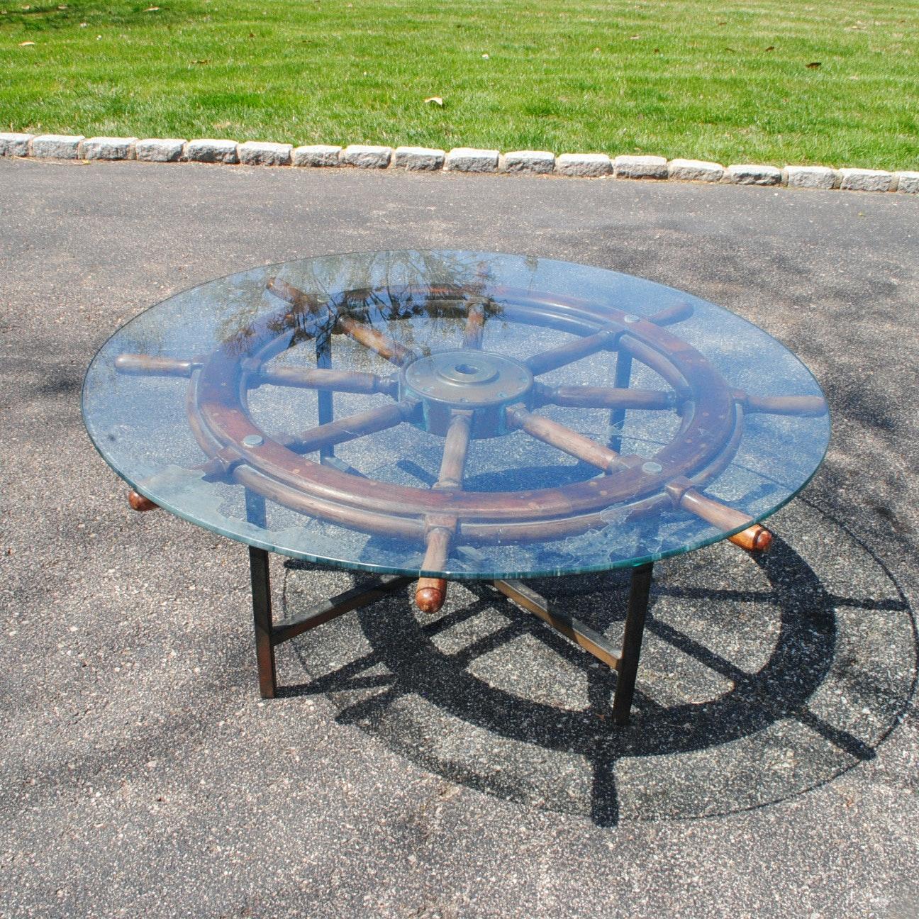 Glass Topped Shipu0027s Wheel Coffee Table ...