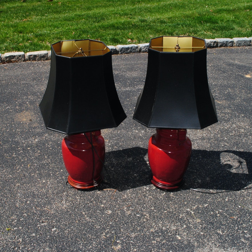 Red Ceramic Table Lamps With Black Lampshades Ebth