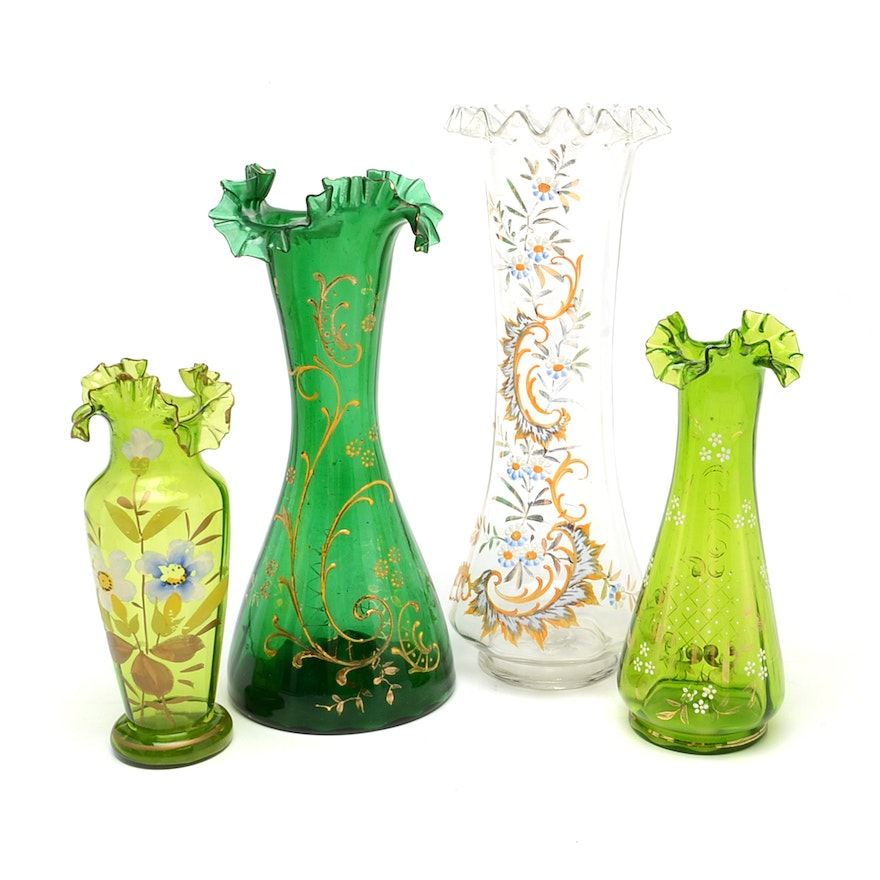 Group Of Hand Painted Vases Ebth