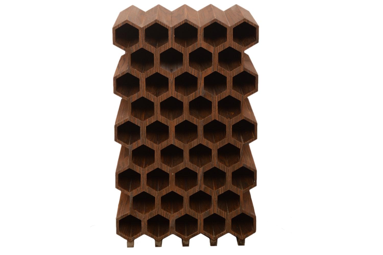Oak Veneer Honeycomb Wine Rack