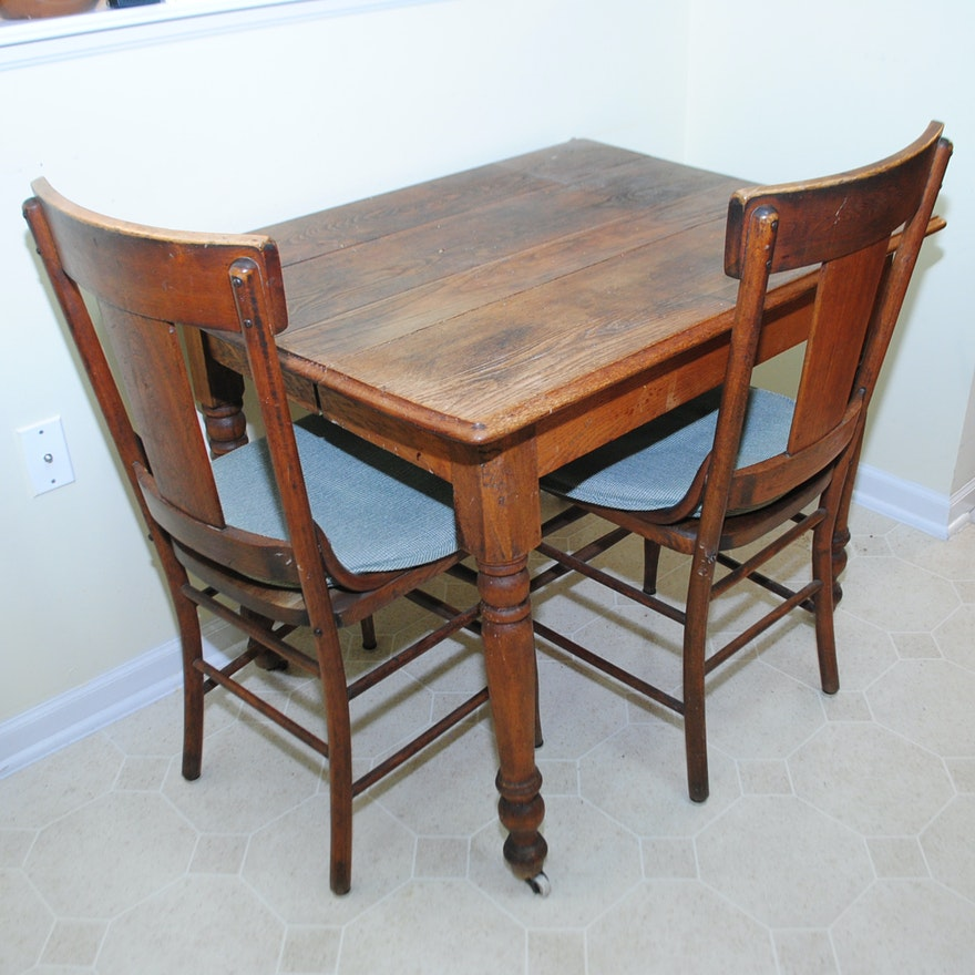 - Antique Oak Dining Table And Side Chairs : EBTH
