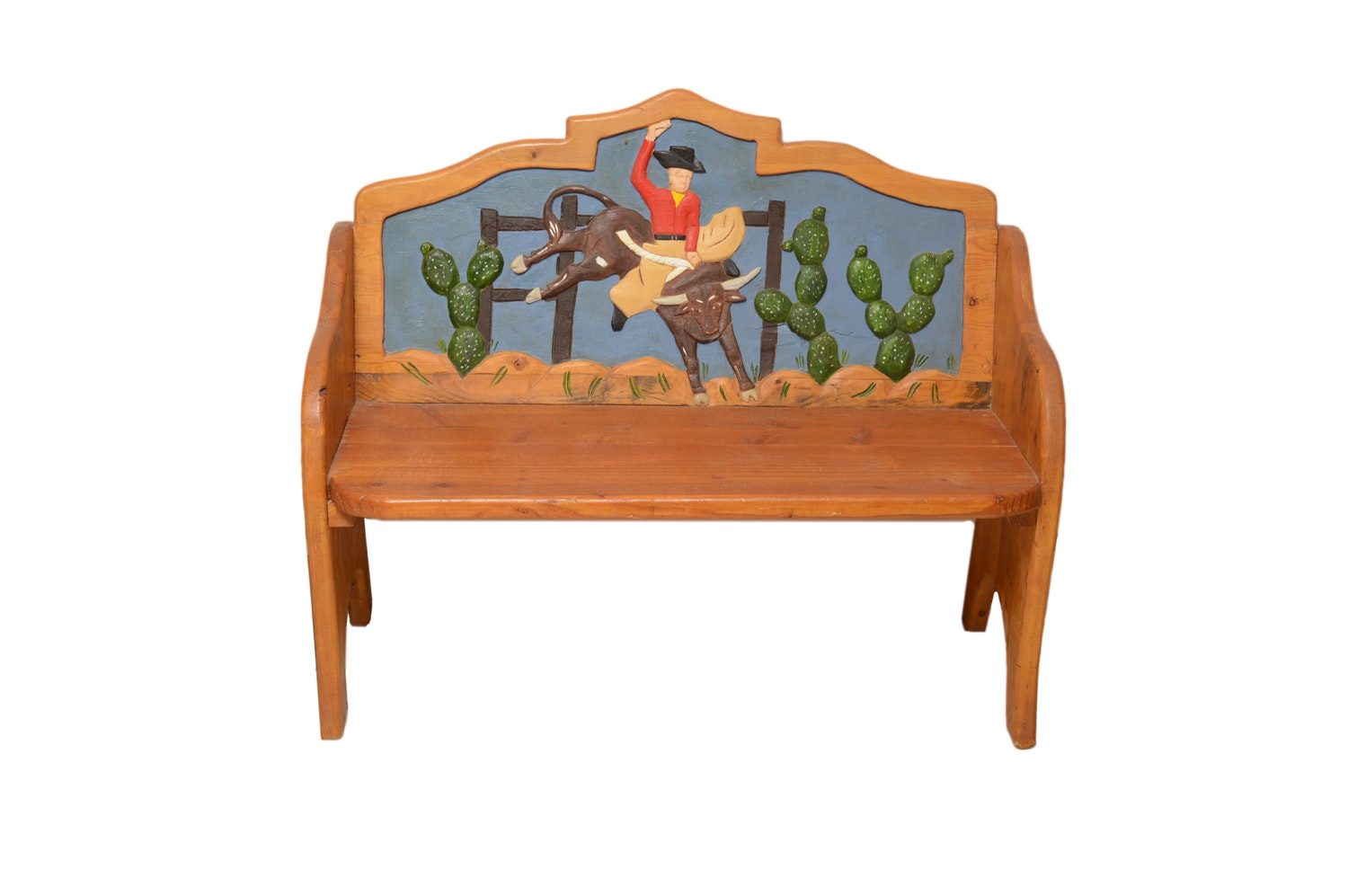 Western Themed Bench with Leather Throw Pillow