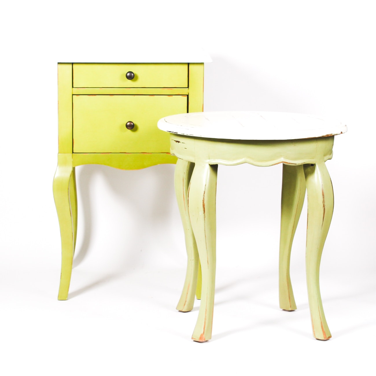 Rustic Farmhouse Style Cream and Green Side Table with Night Stand
