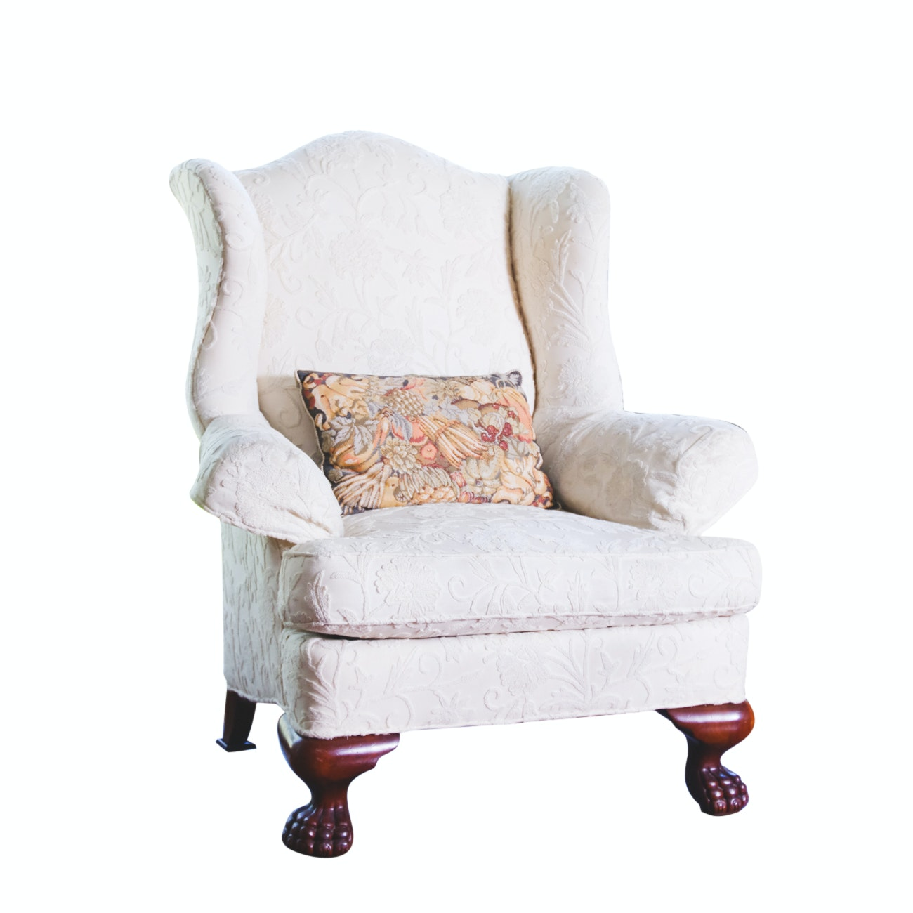 Wingback Armchair with Mahogany Lion Paw Feet