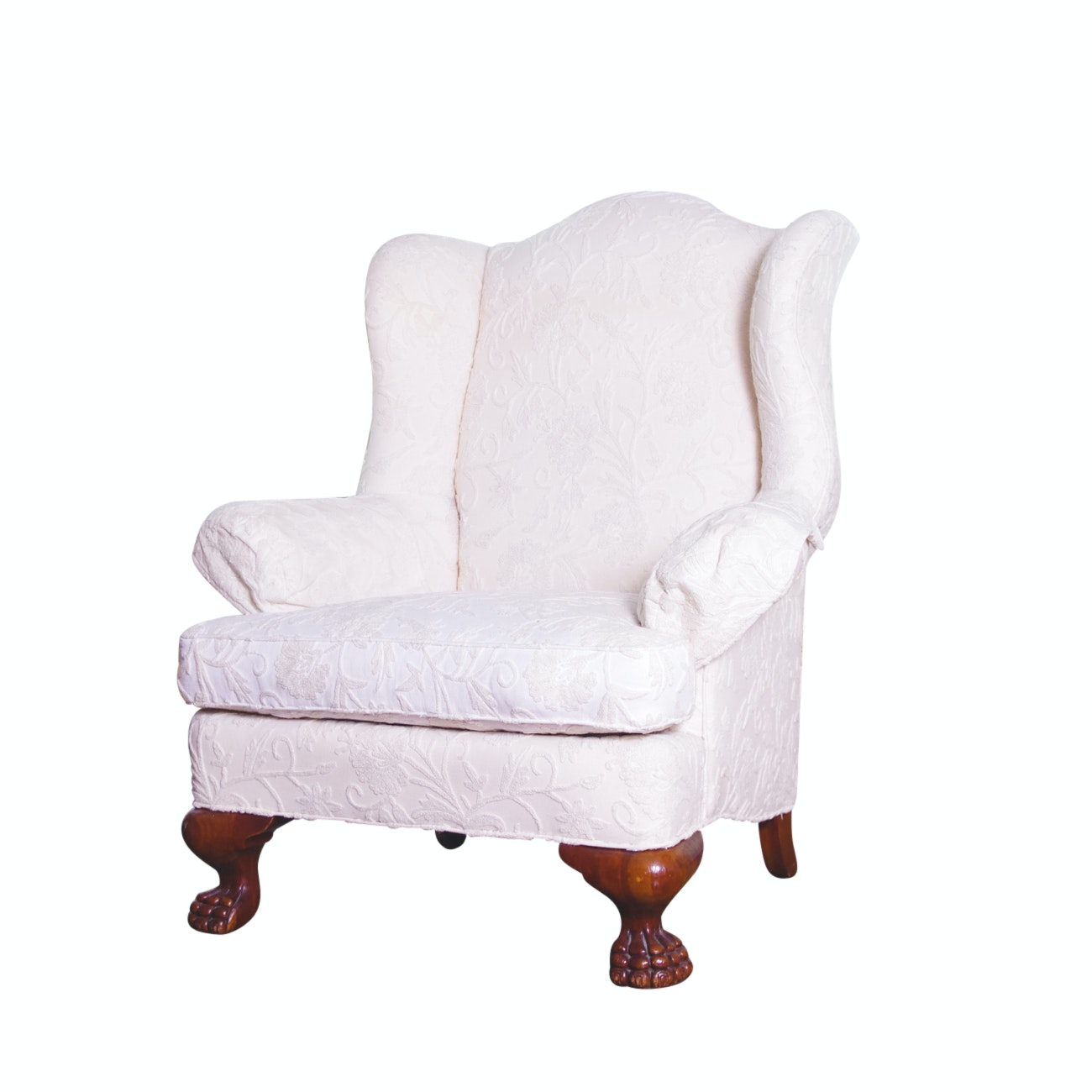 Queen Anne Style Wingback Ivory Armchair