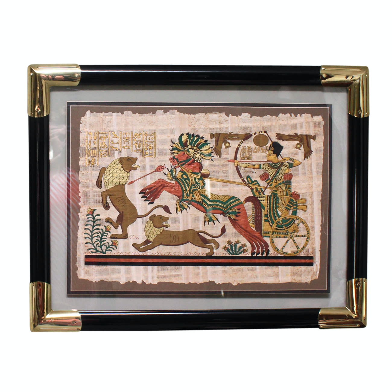 """Original Egyptian Gouache Painting on Papyrus """"The Royal Hunt"""""""