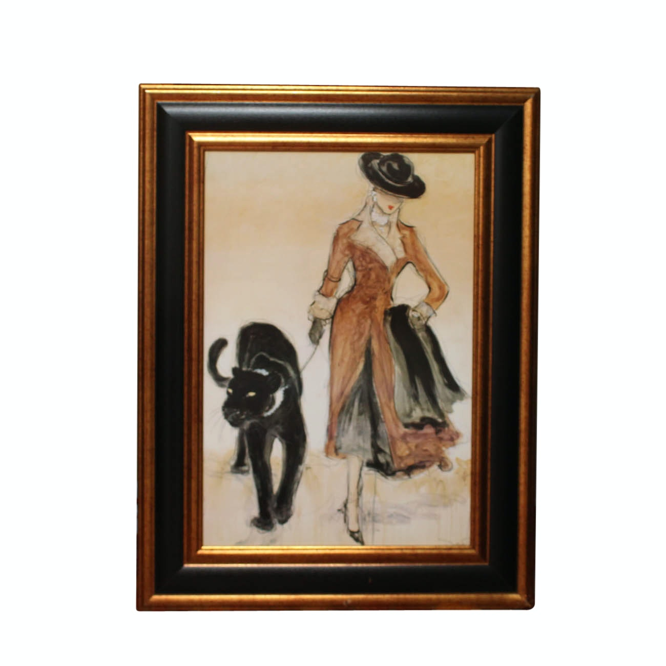 Framed Giclee Print of Woman with Panther