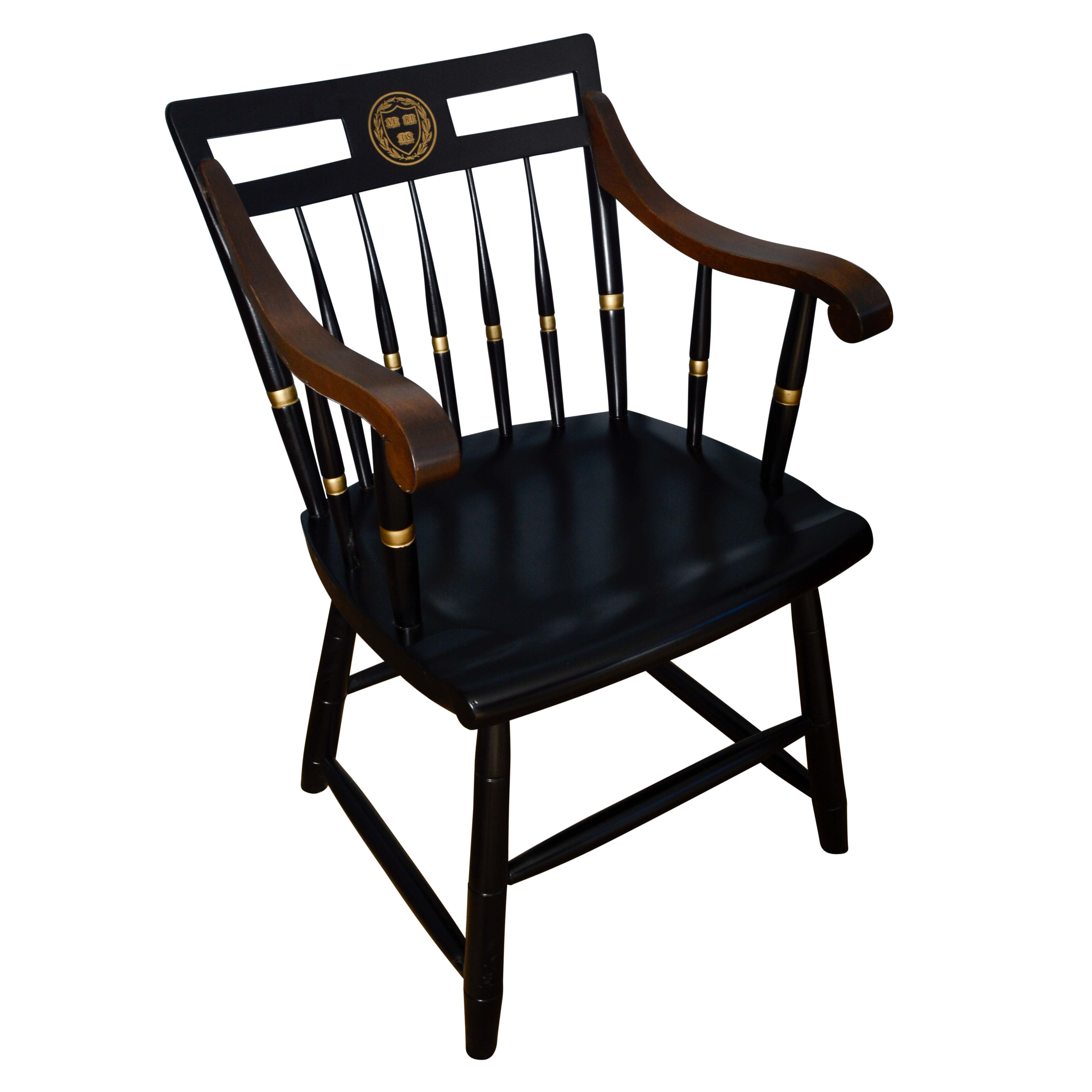 "Black Lacquered ""Harvard College"" Chair by Nichols & Stone"