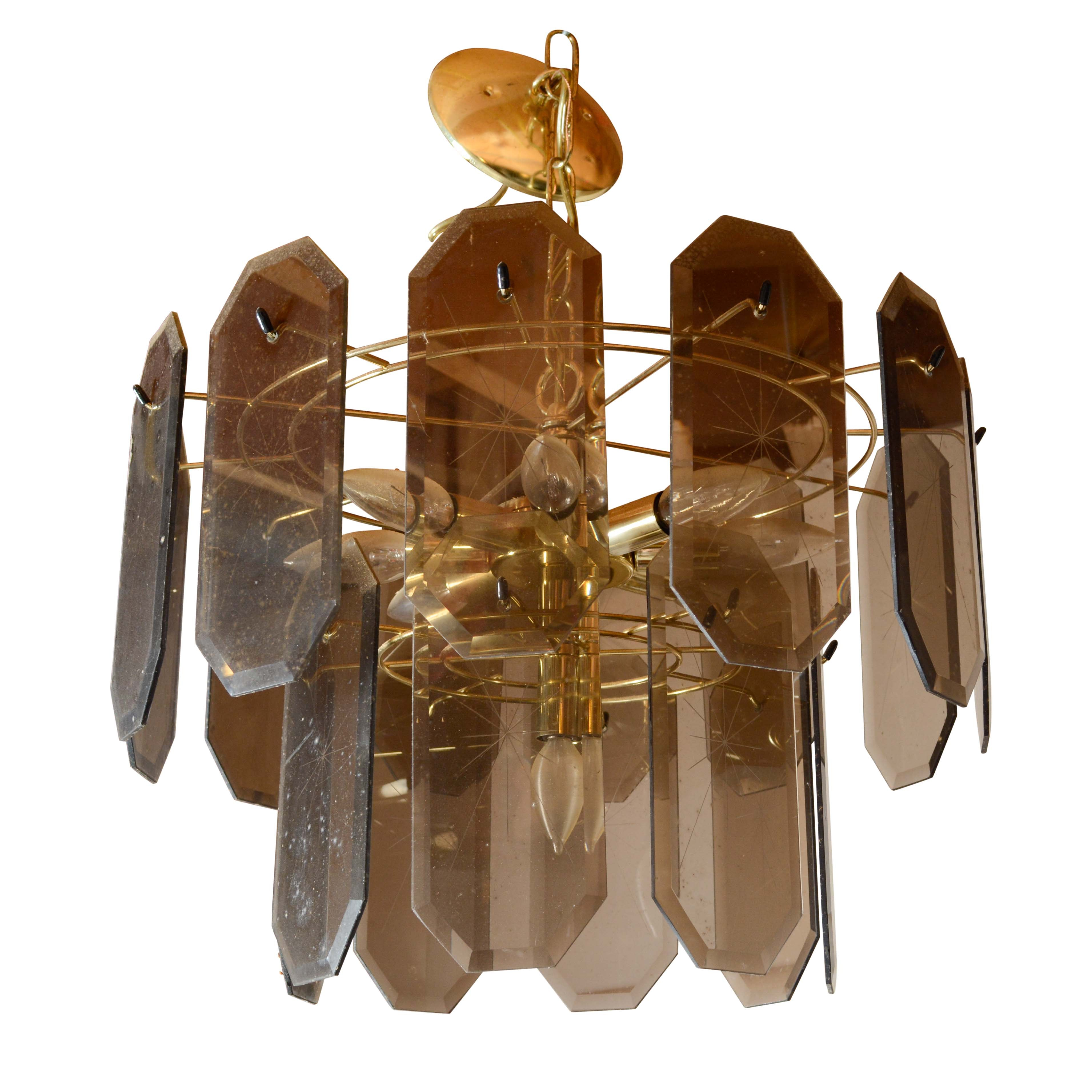 Vintage Brass and Smoked Glass Chandelier