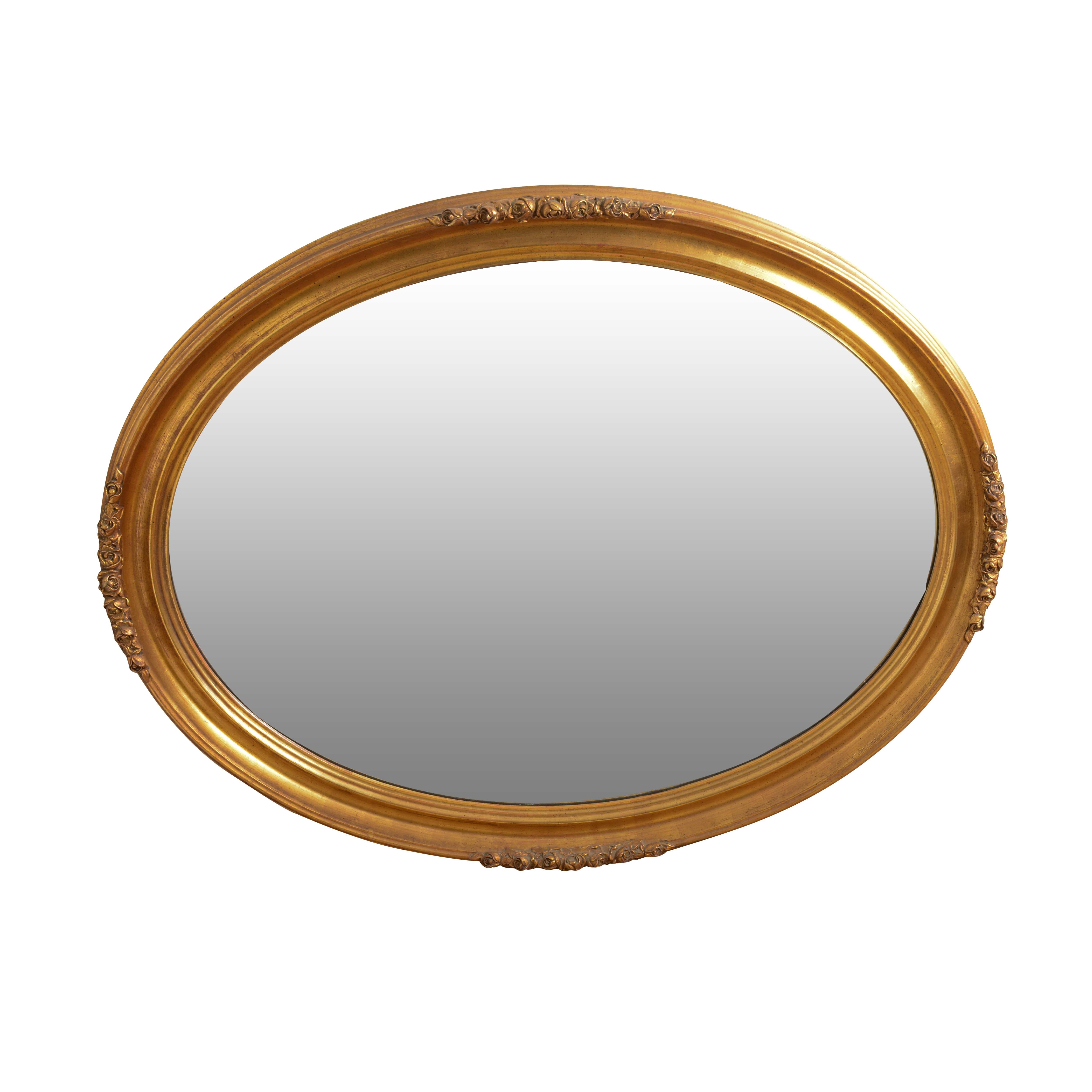 Vintage Gold Toned Oval Wall Mirror
