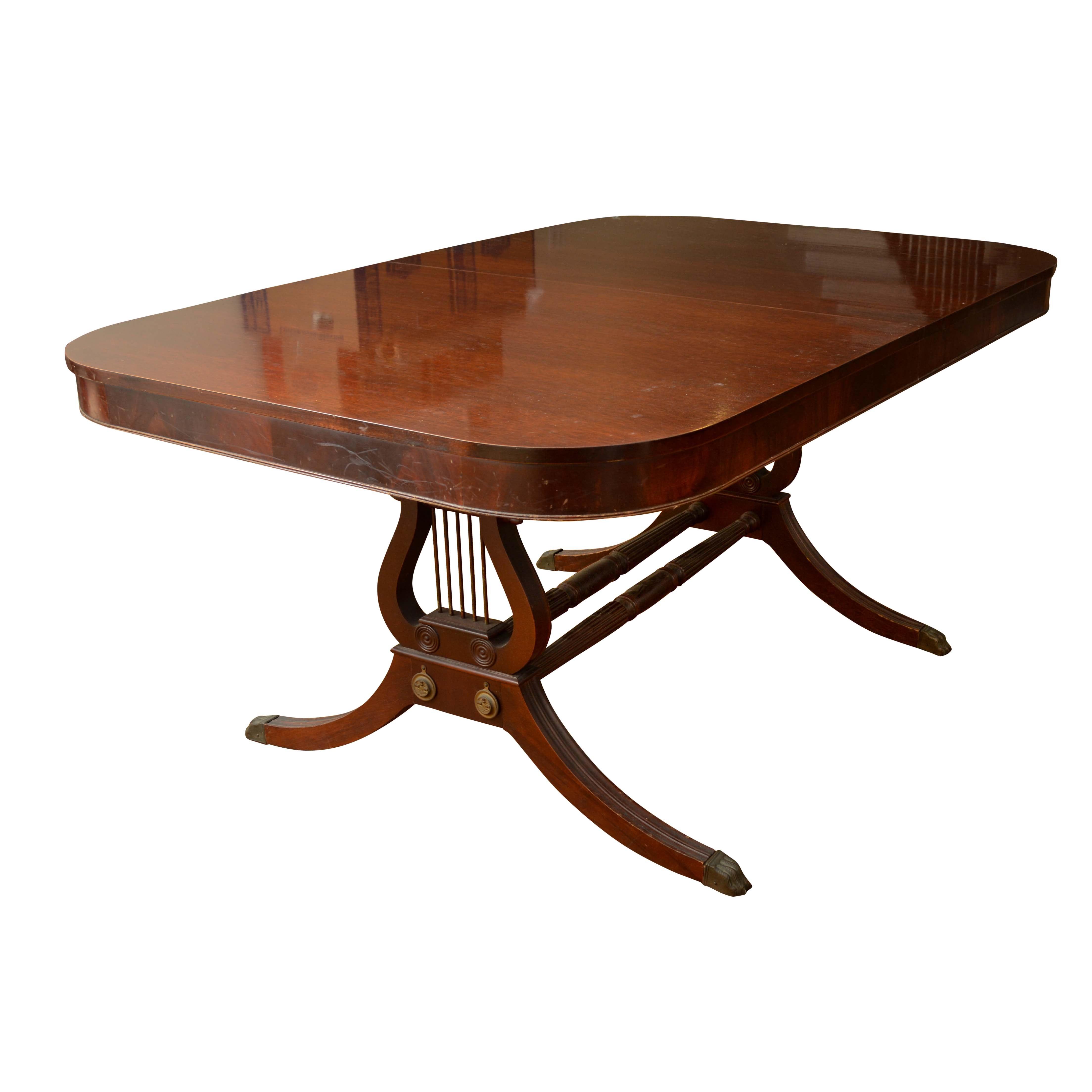 Vintage Regency Style Mahogany Lyre Base Dining Table