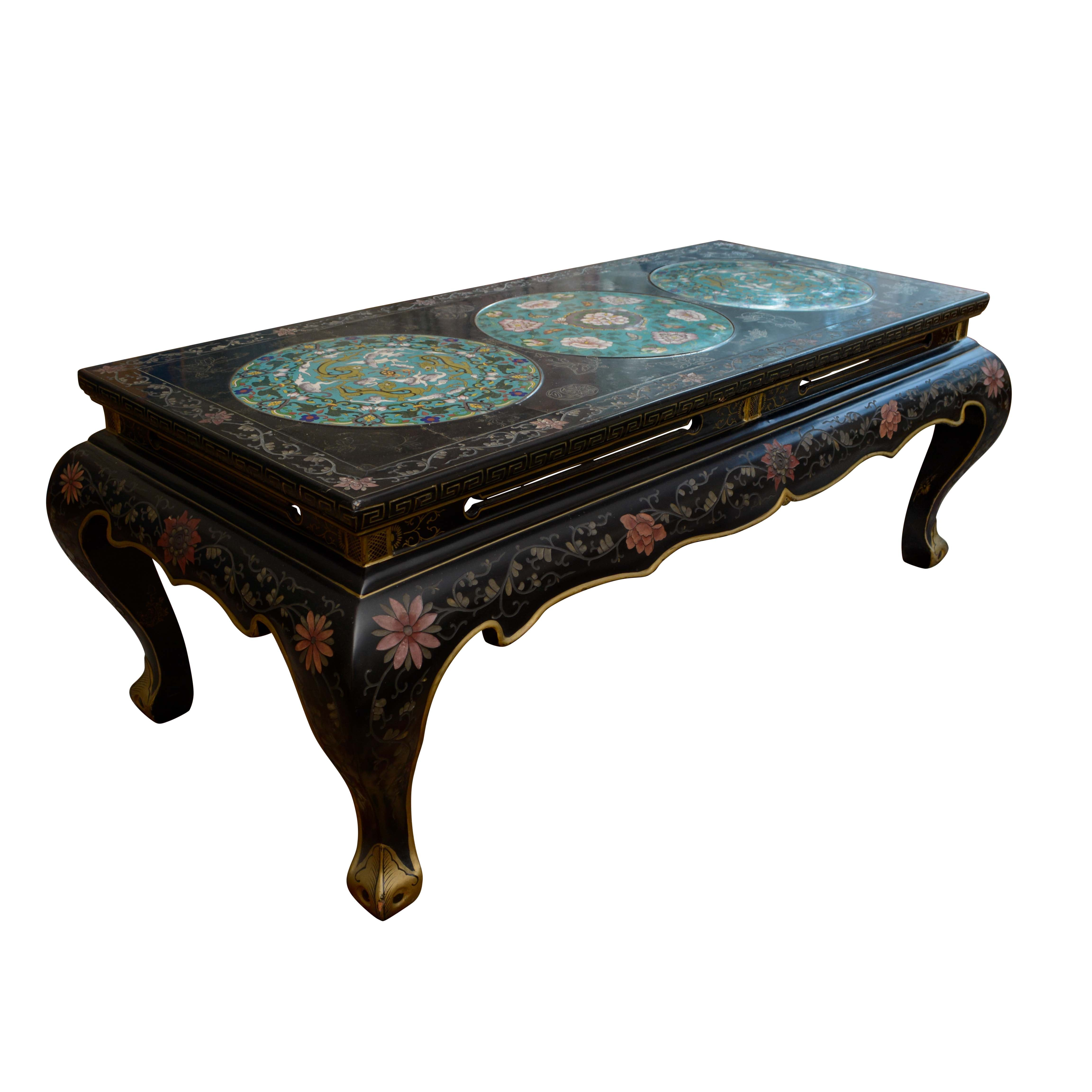 Vintage Chinese Cloisonne and Coromandel Lacquer Coffee Table