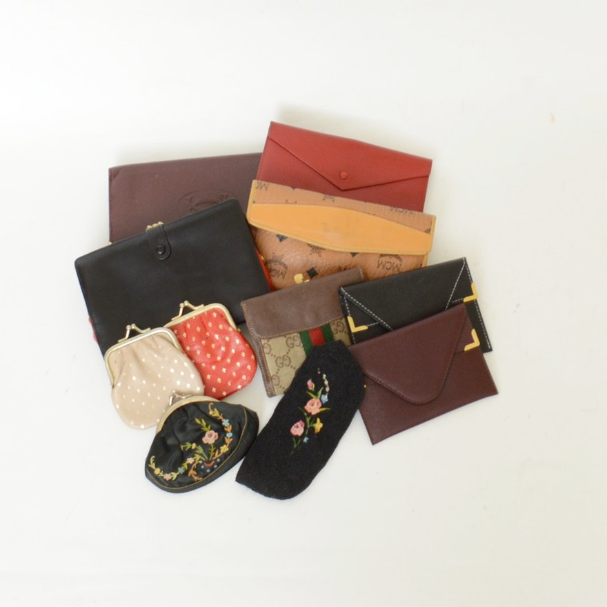 b6f9da340d1e Collection of Various Wallets and Coin Purses Including Gucci ...