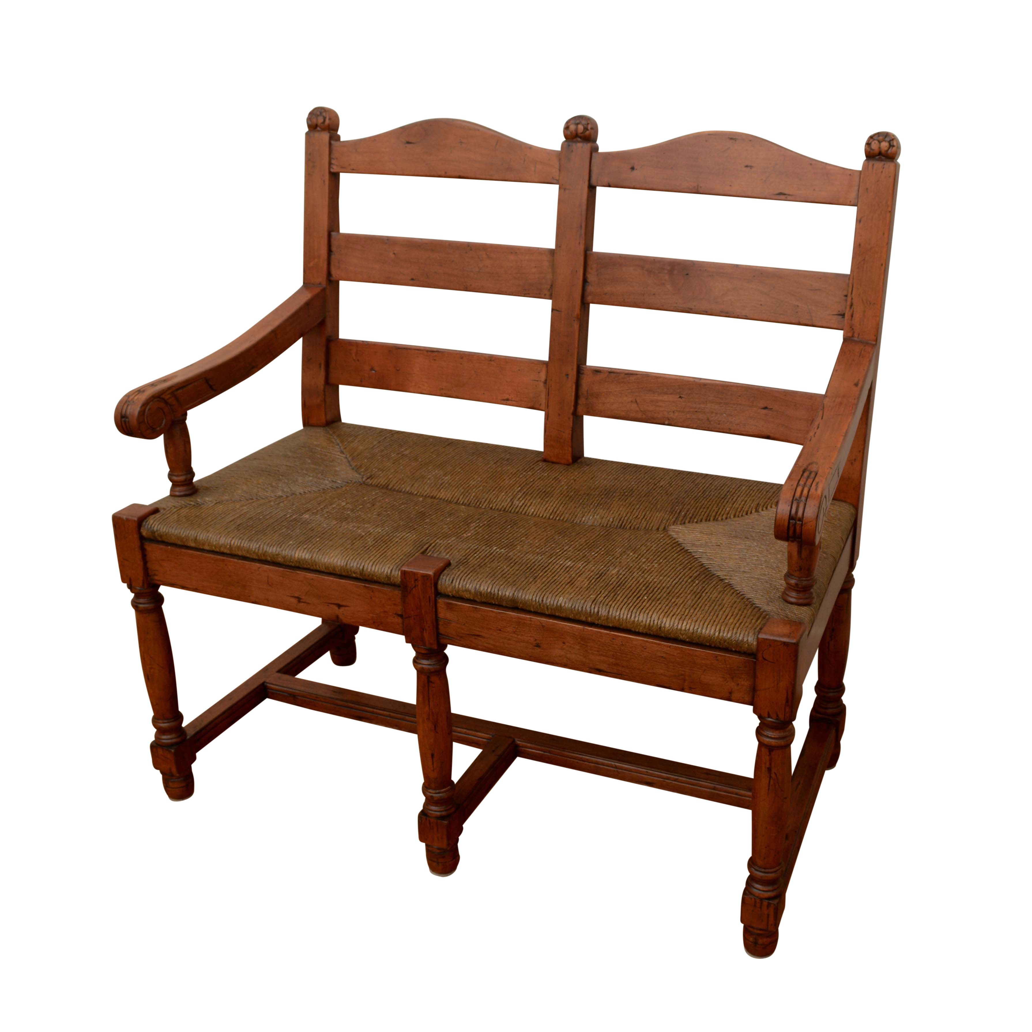 Double Ladder Back Rush Seat Bench