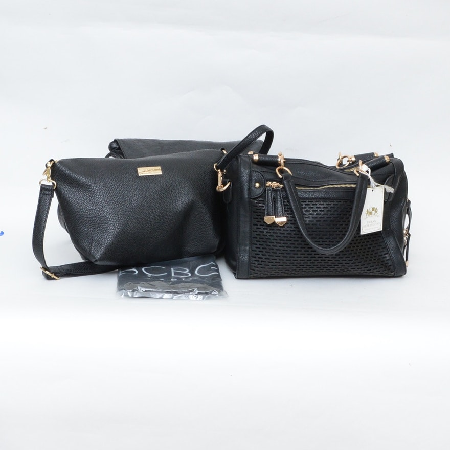 07416ad56889 Three Black Leather Handbags with Gold Tone Hardware Including BCBG   EBTH