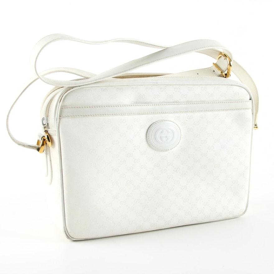 6f739b52b71 Vintage Gucci Supreme White Canvas Shoulder Bag