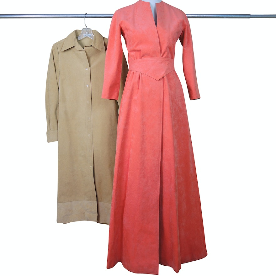Two Late 1970s Vintage Halston Ultra Suede Dresses : EBTH