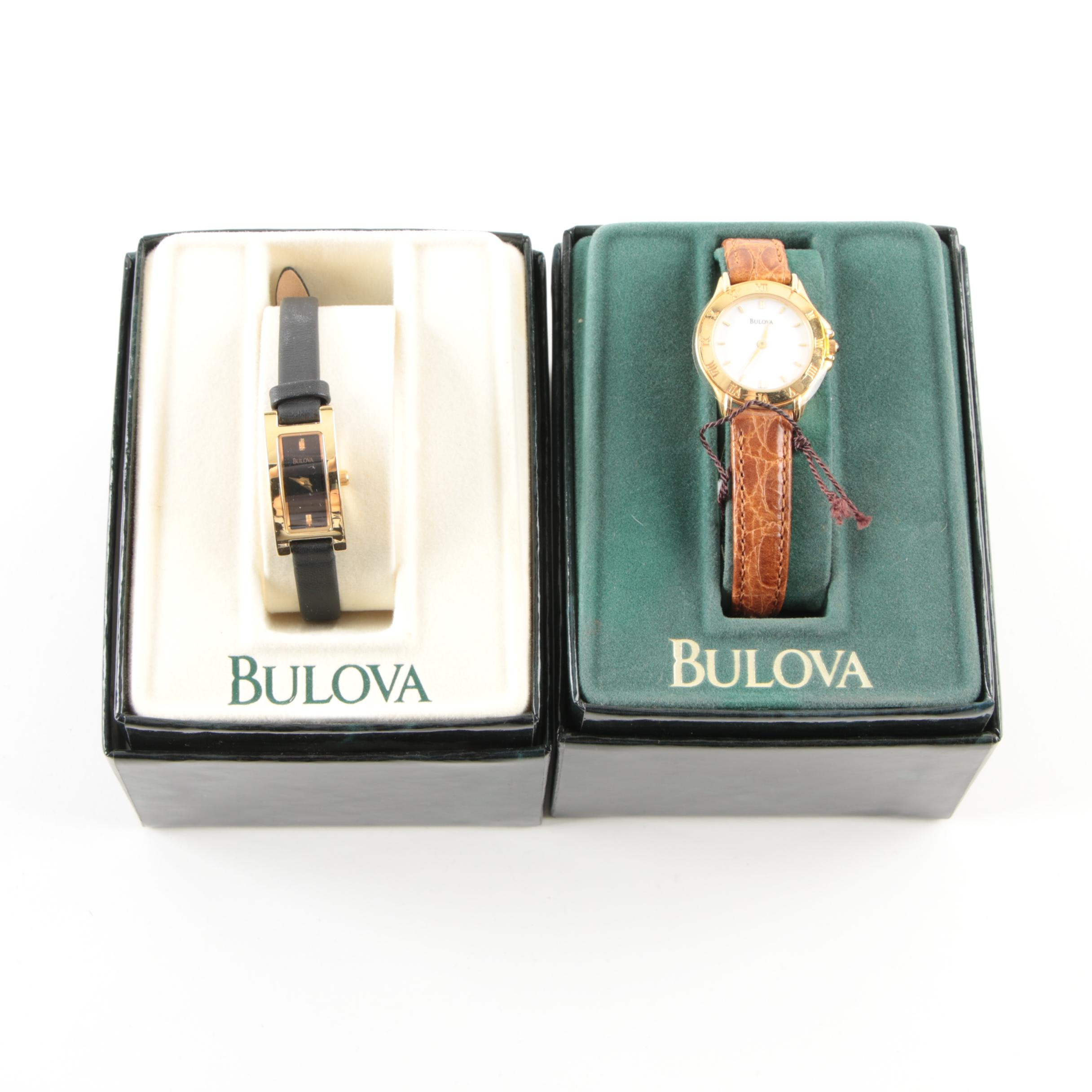 Bulova Gold Tone and Leather Wristwatches