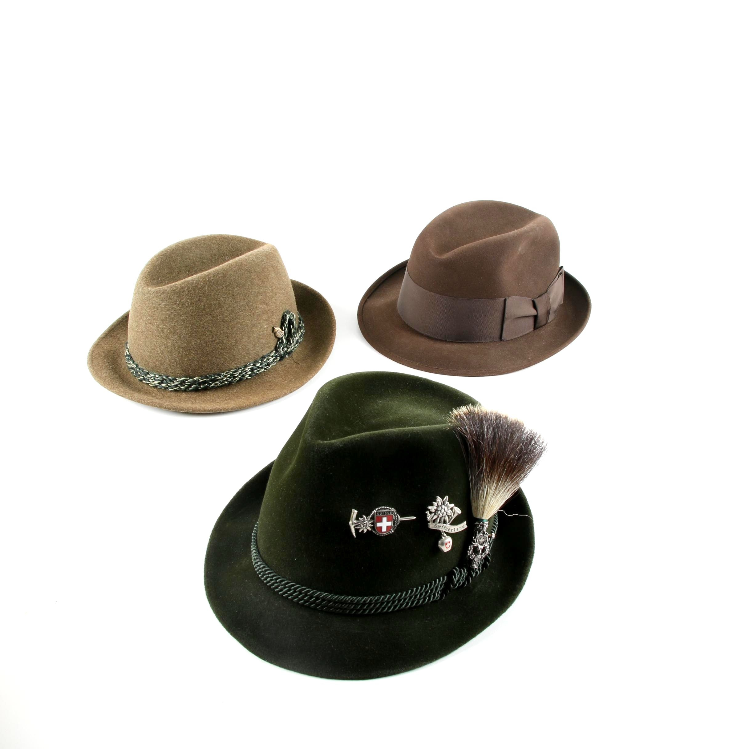 Men's Vintage Felted Fedora Hats and Tyrolean Hat with Wild Boar Hair