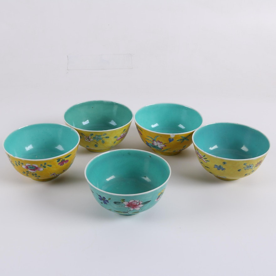 vintage chinese footed floral rice bowls in aqua and yellow ebth