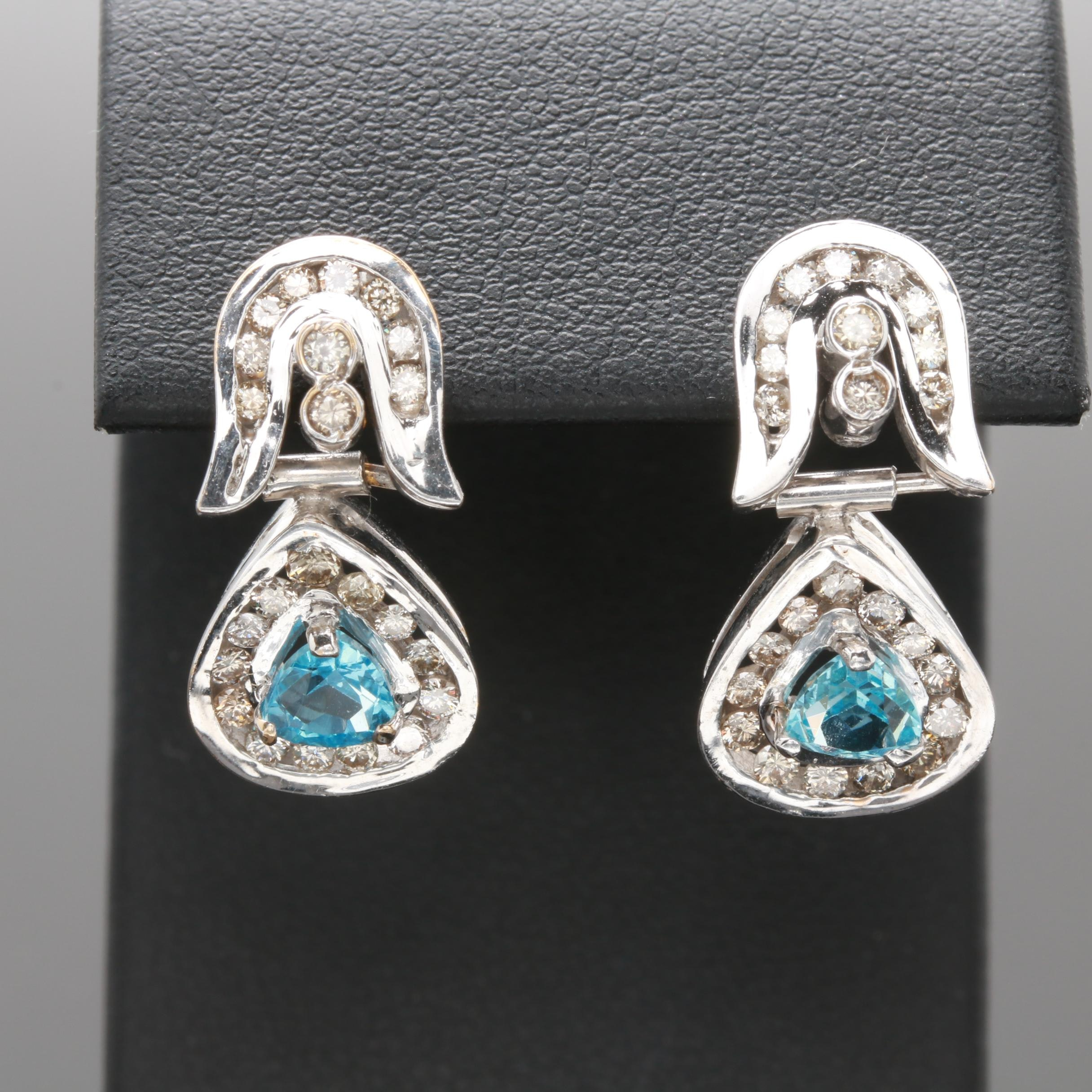 18K White Gold Topaz and Diamond Earrings