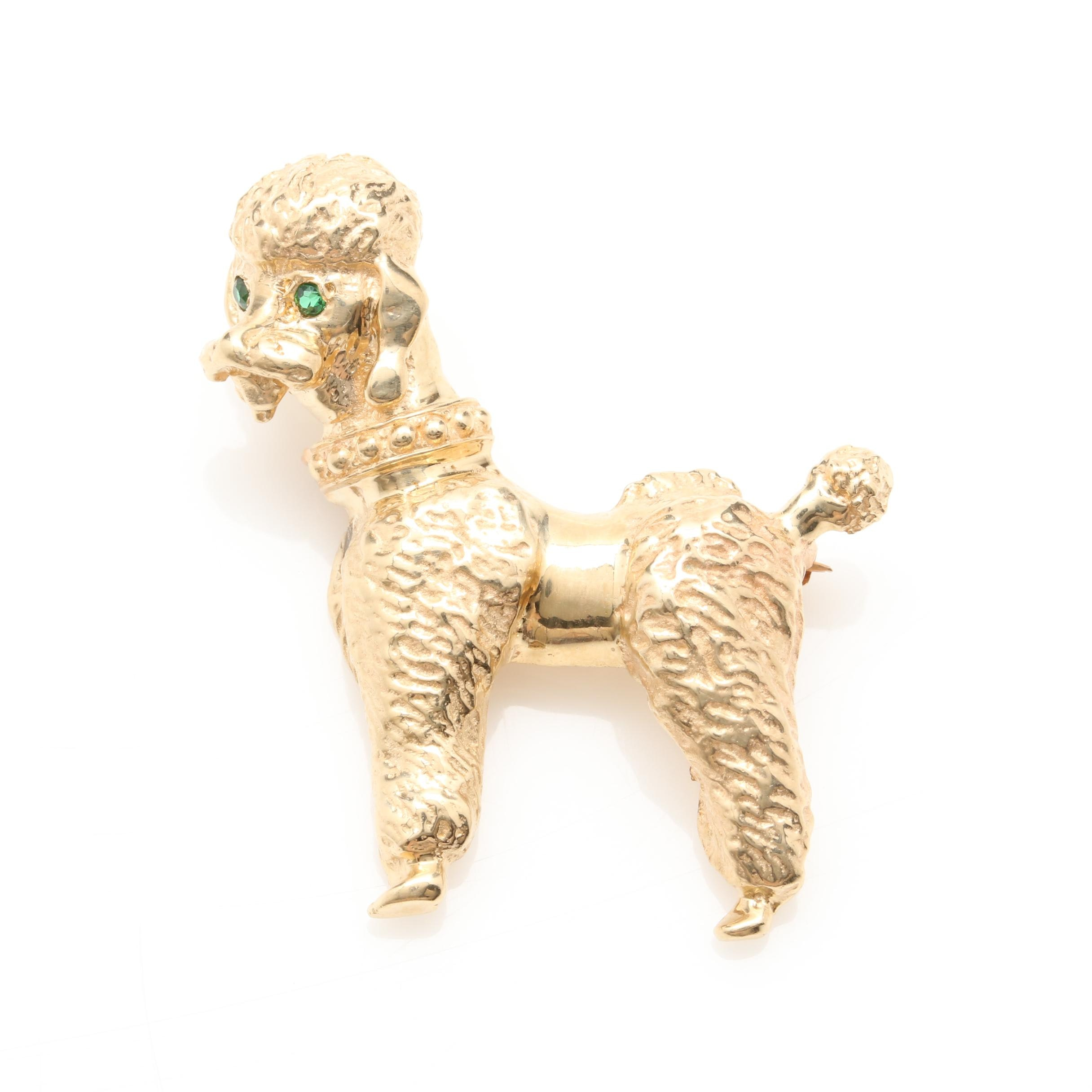 14K Yellow Gold Synthetic Carnelian Spinel Poodle Brooch