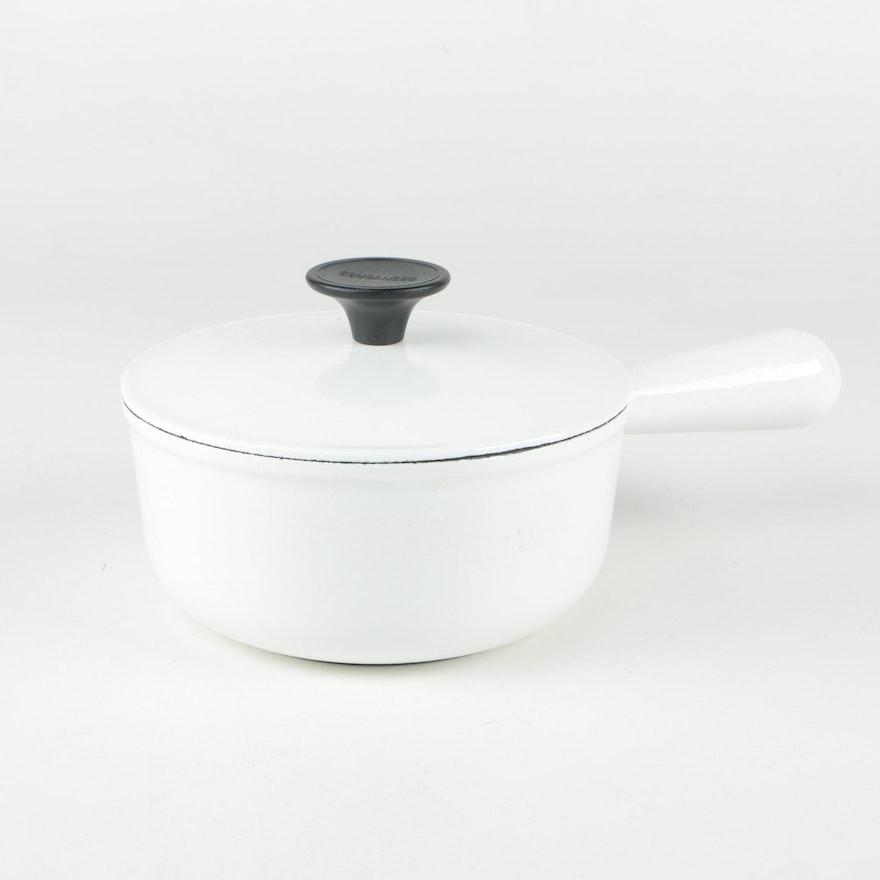 French Cousances White Enameled Cast Iron Saucepan Ebth