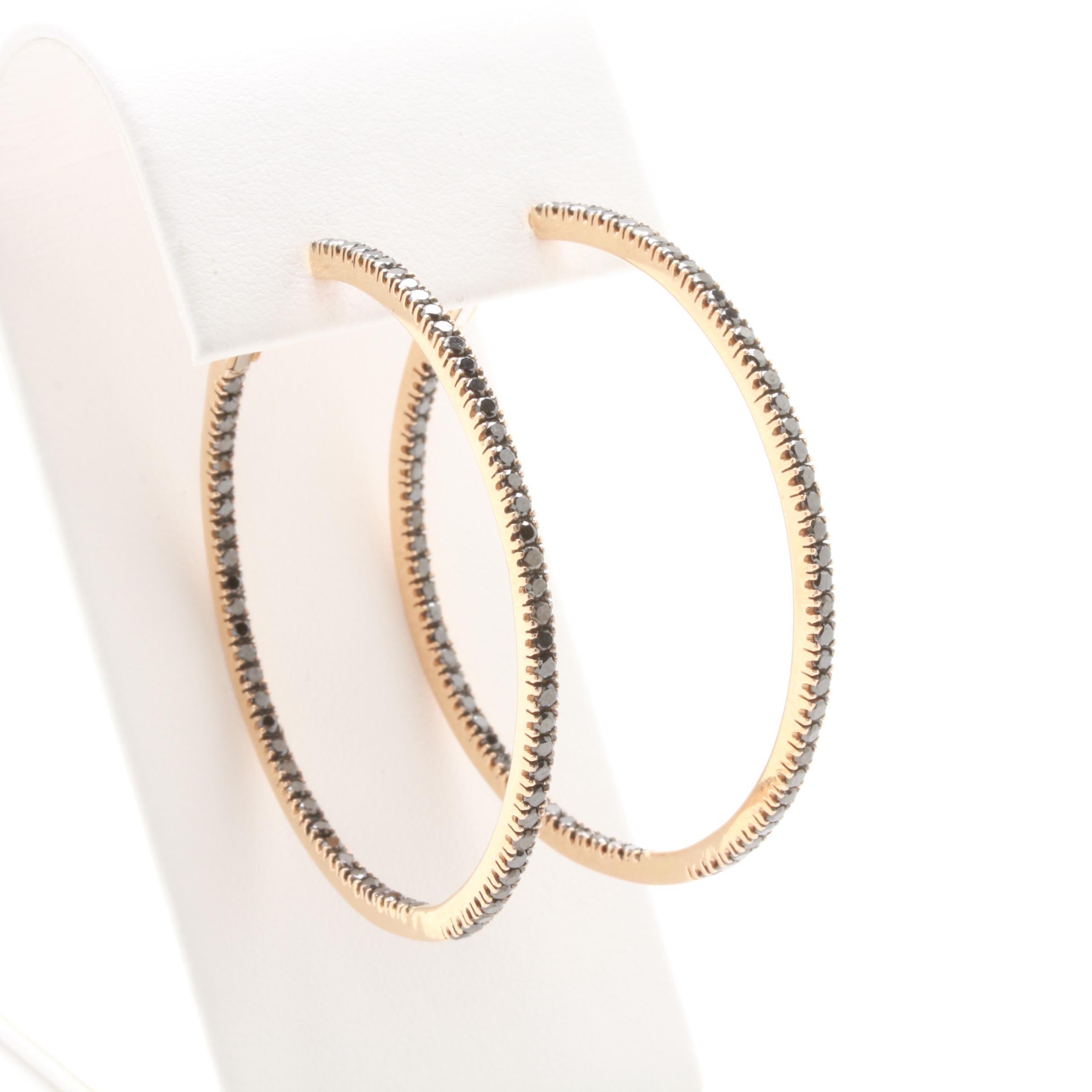 18K Yellow Gold 2.24 CTW Black Diamond Inside Out Hoop Earrings