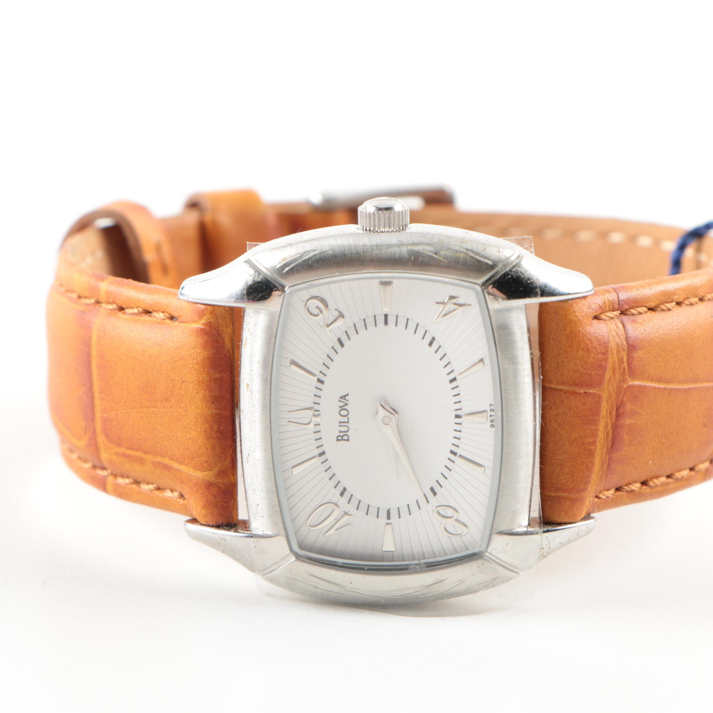 Bulova Stainless Steel and Leather Wristwatch