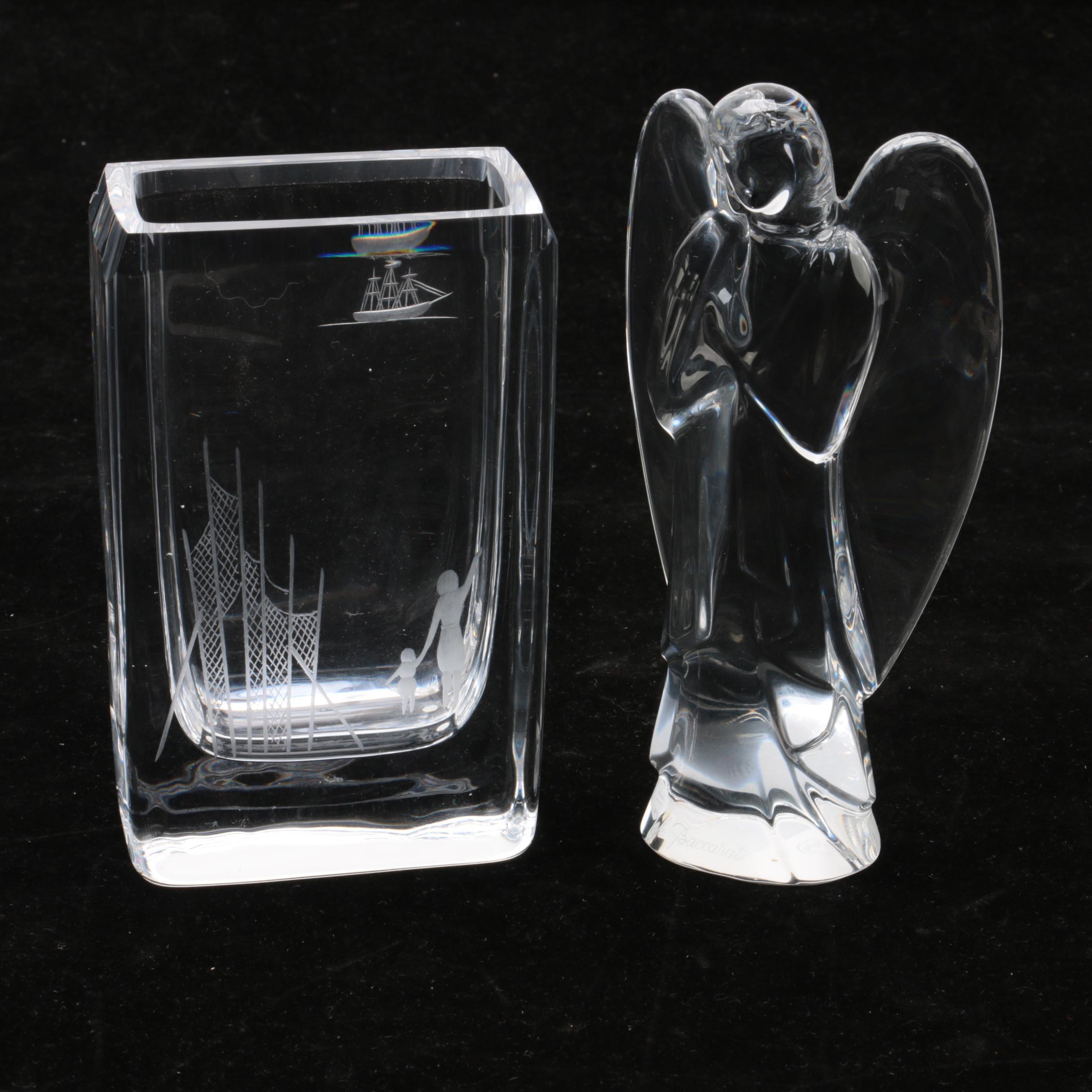 Baccarat Crystal Angel with Edenfalk Skruf Etched Vase