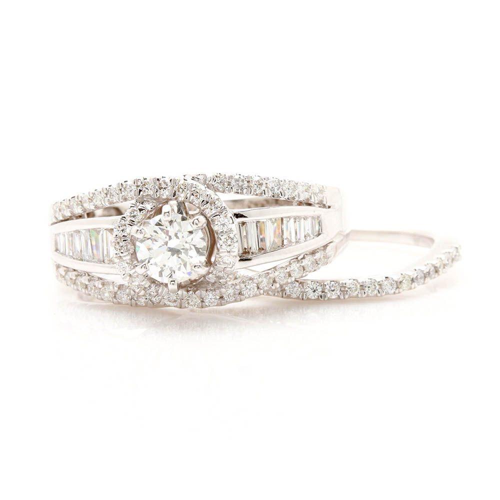 14K White Gold 1.14 CTW Diamond Ring Set