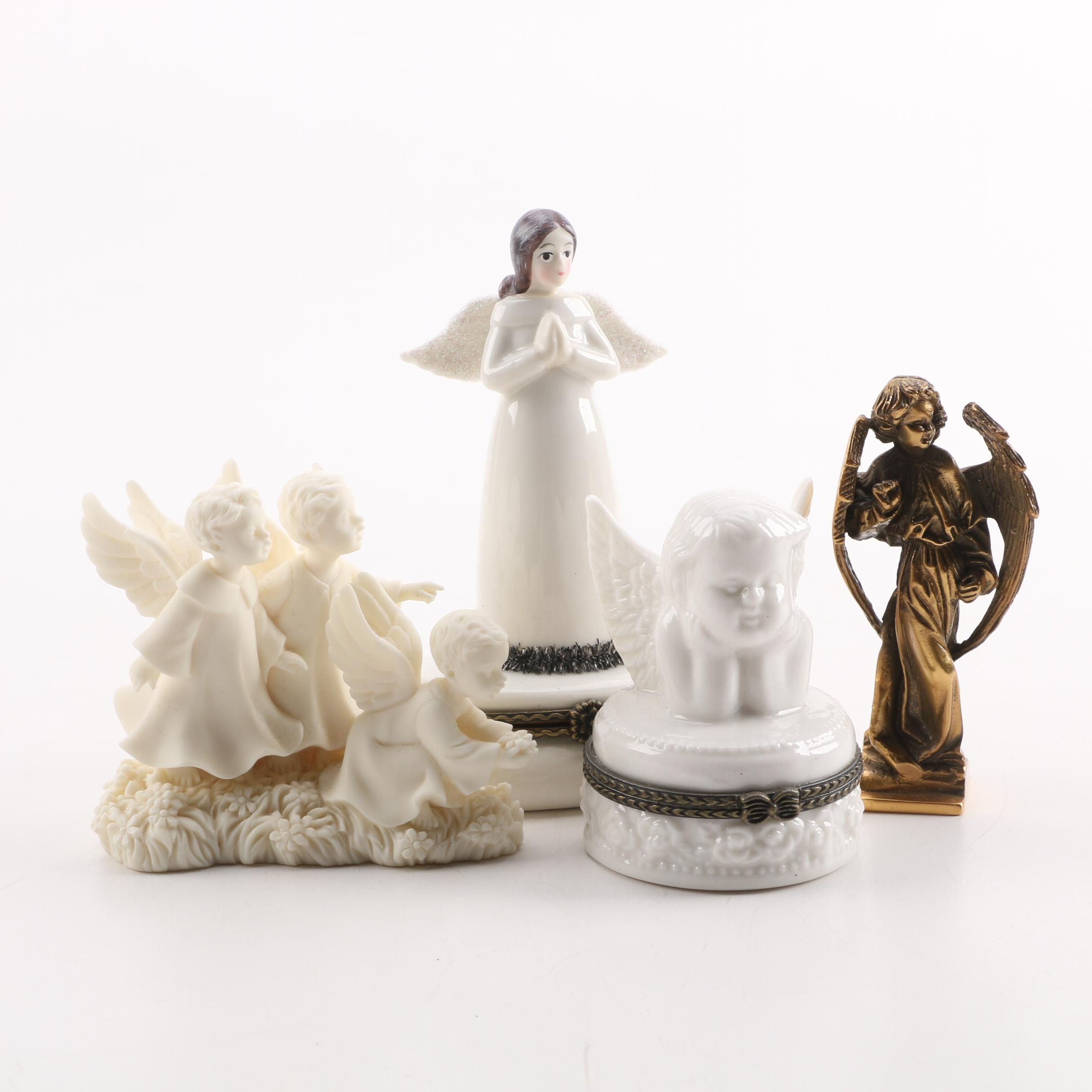 Ceramic and Metal Angel Trinket Boxes and Figurines Including Roman Inc.
