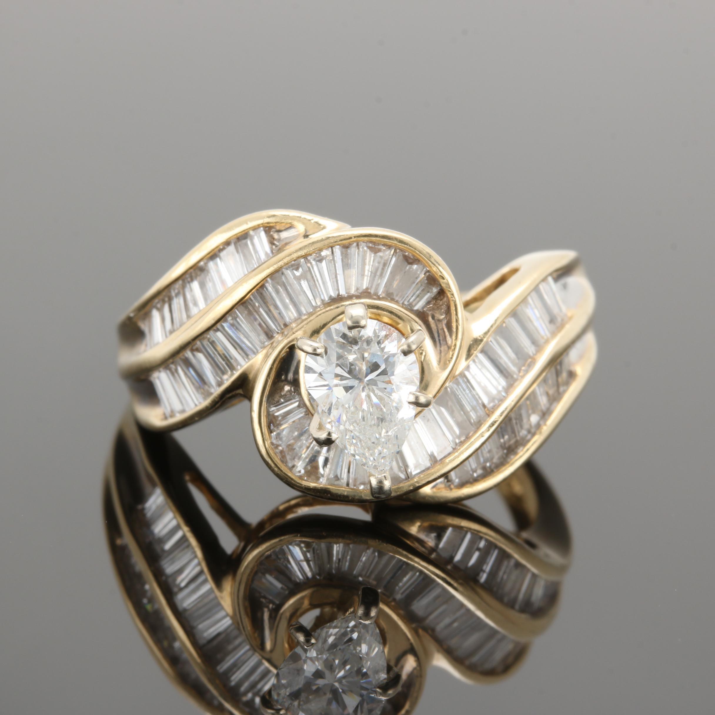 14K Yellow Gold 1.66 CTW Diamond Bypass Ring