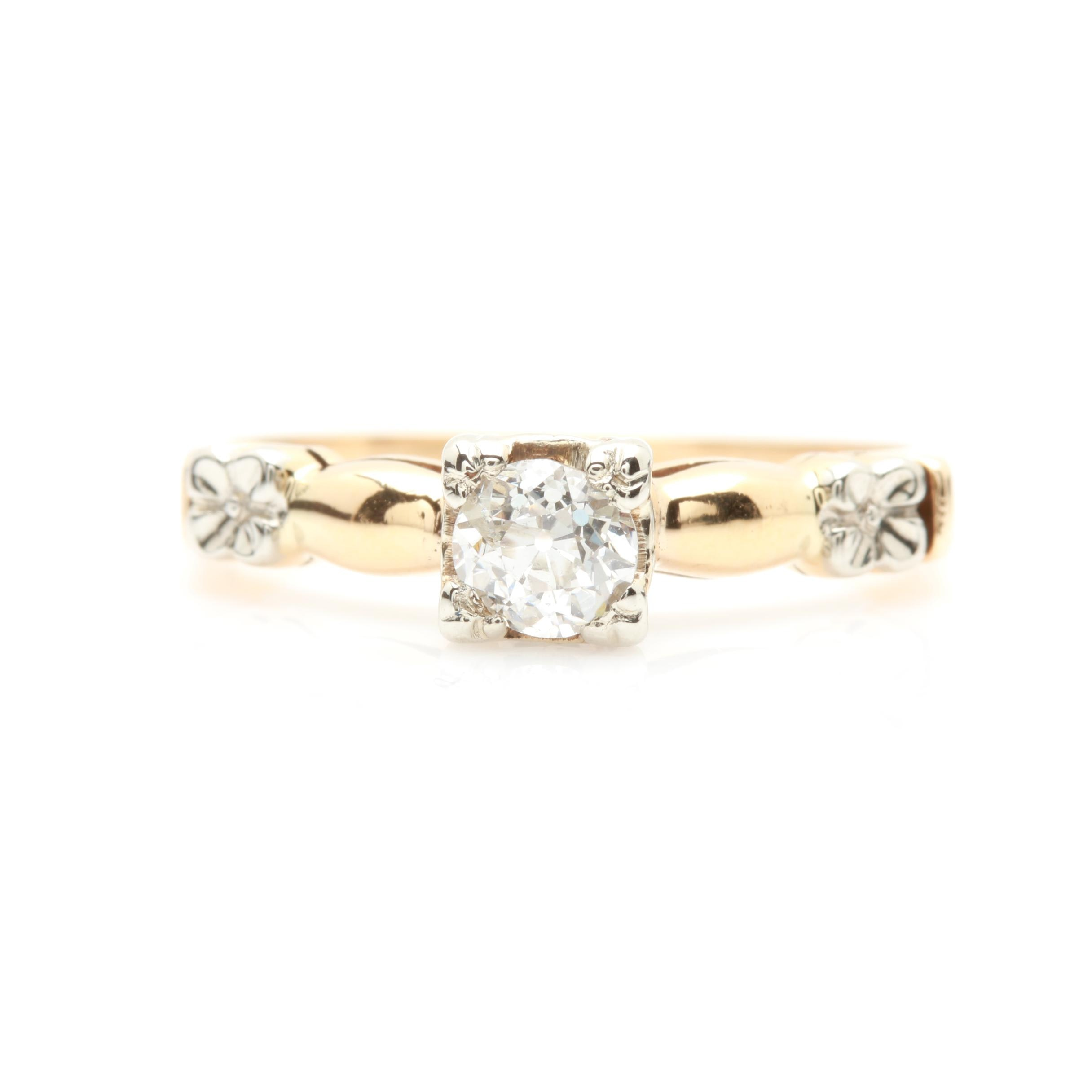 14K Yellow Gold Diamond Ring with 14K White Gold Accents