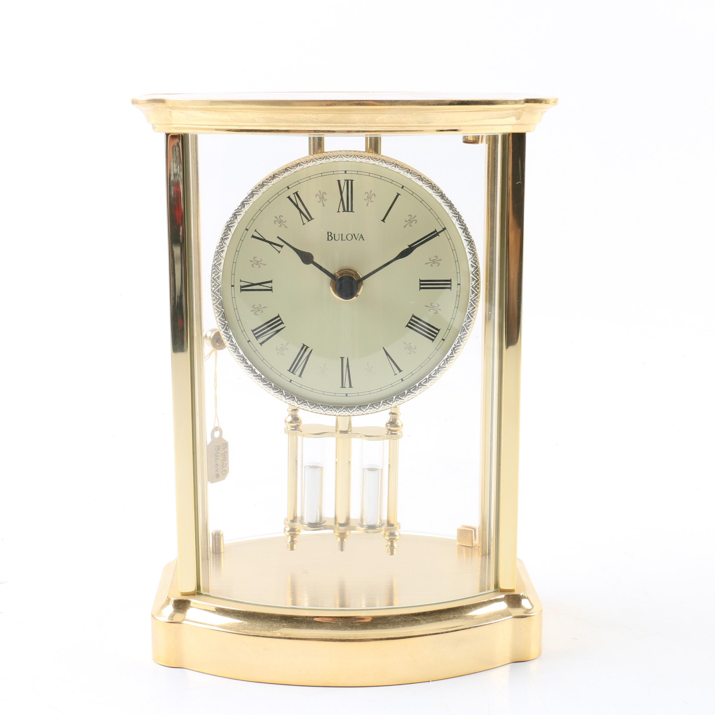 Bulova Contemporary Style Desk Clock with Mercury Pendulum