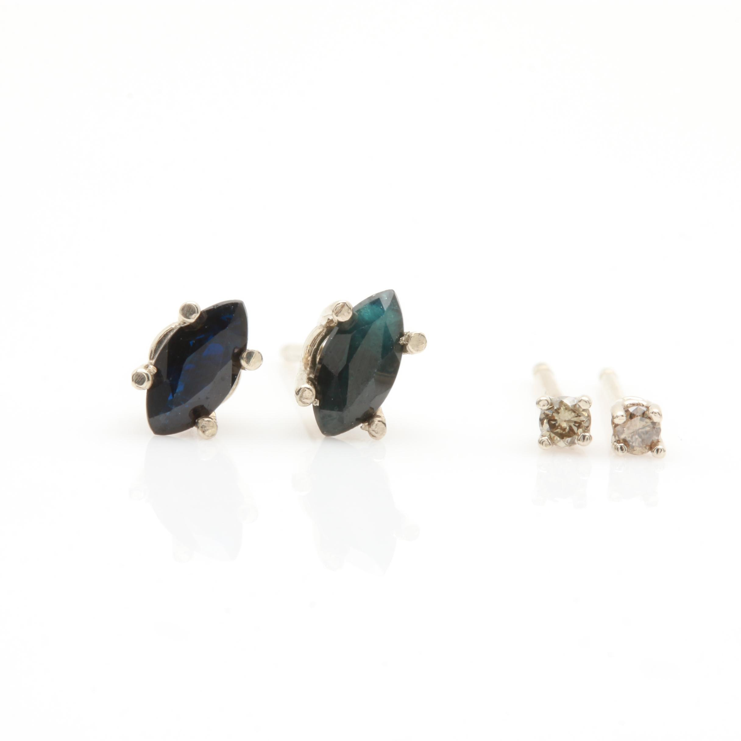 14K White Gold Diamond and Sapphire Stud Earrings
