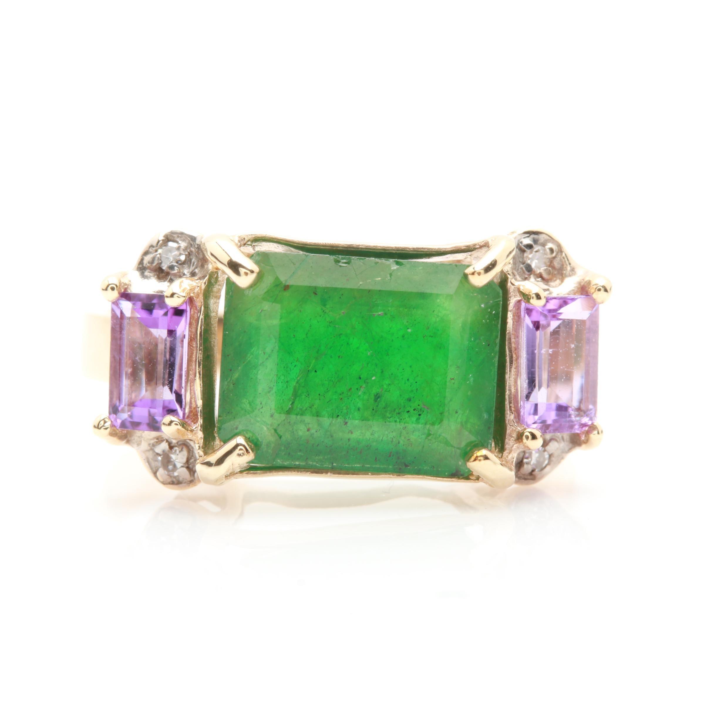 14K Yellow Gold 2.70 CT Emerald, Amethyst and Diamond Ring
