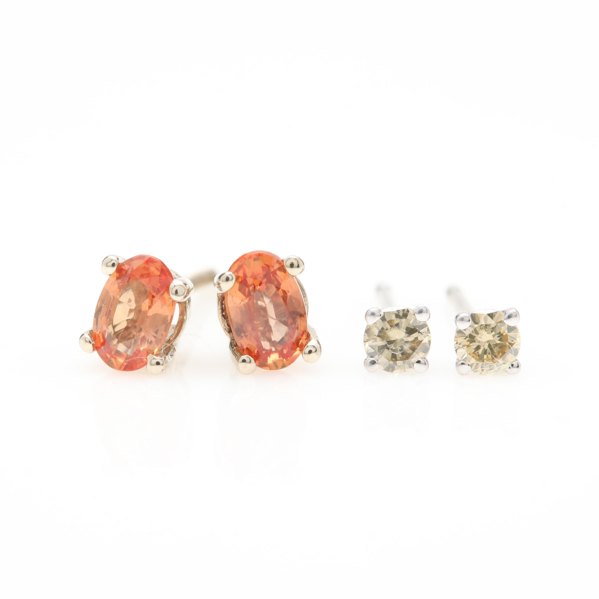 14K White Gold Diamond and Orange Sapphire Stud Earrings