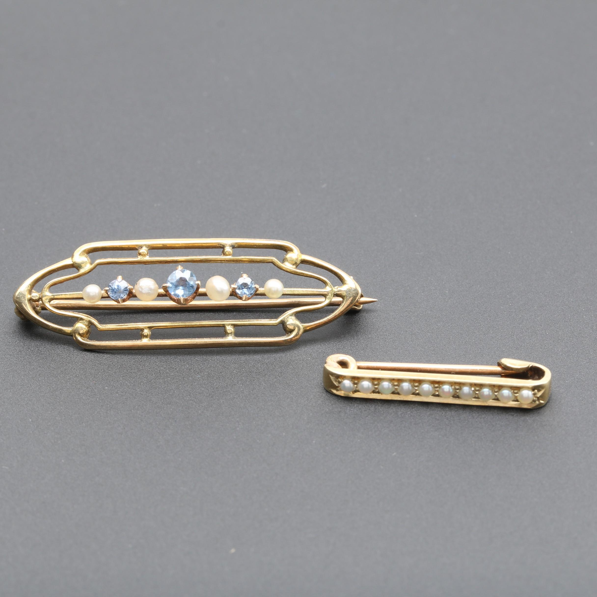 Early 1900's 14K Yellow Gold Blue Sapphire and Pearl Bar Brooches