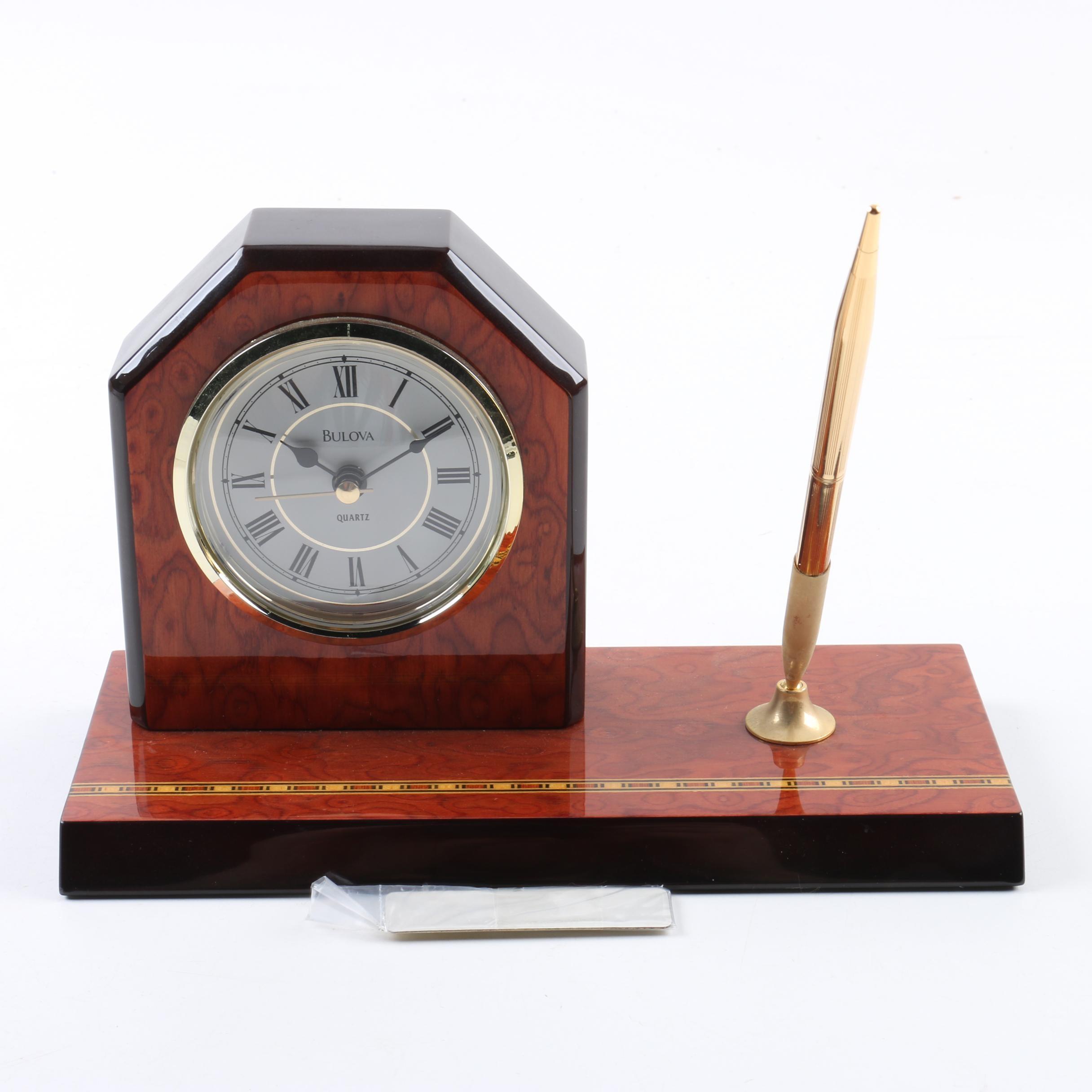 Bulova Quartz Clock and Pen Holder