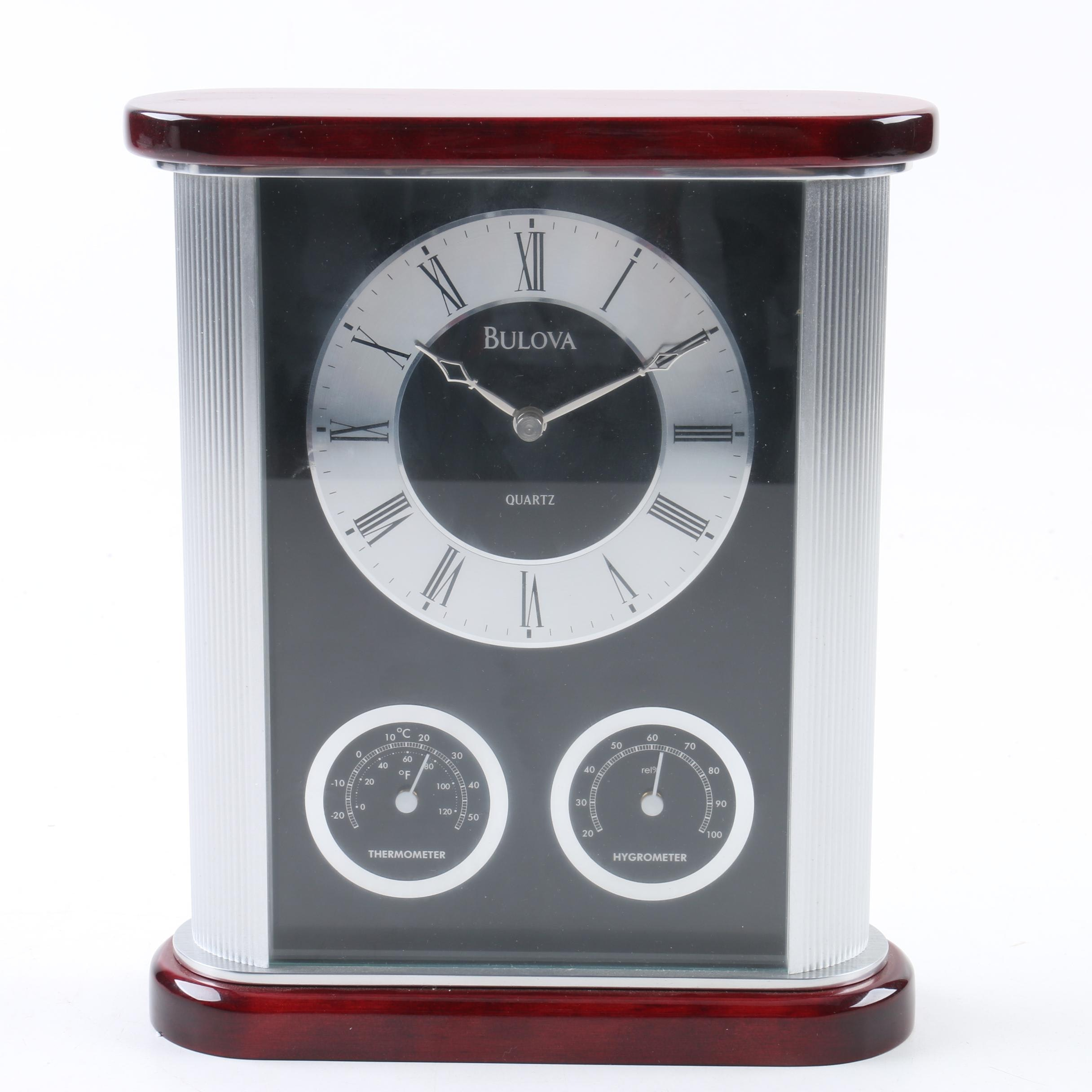 Bulova Modern Table Clock with Hygrometer and Thermometer