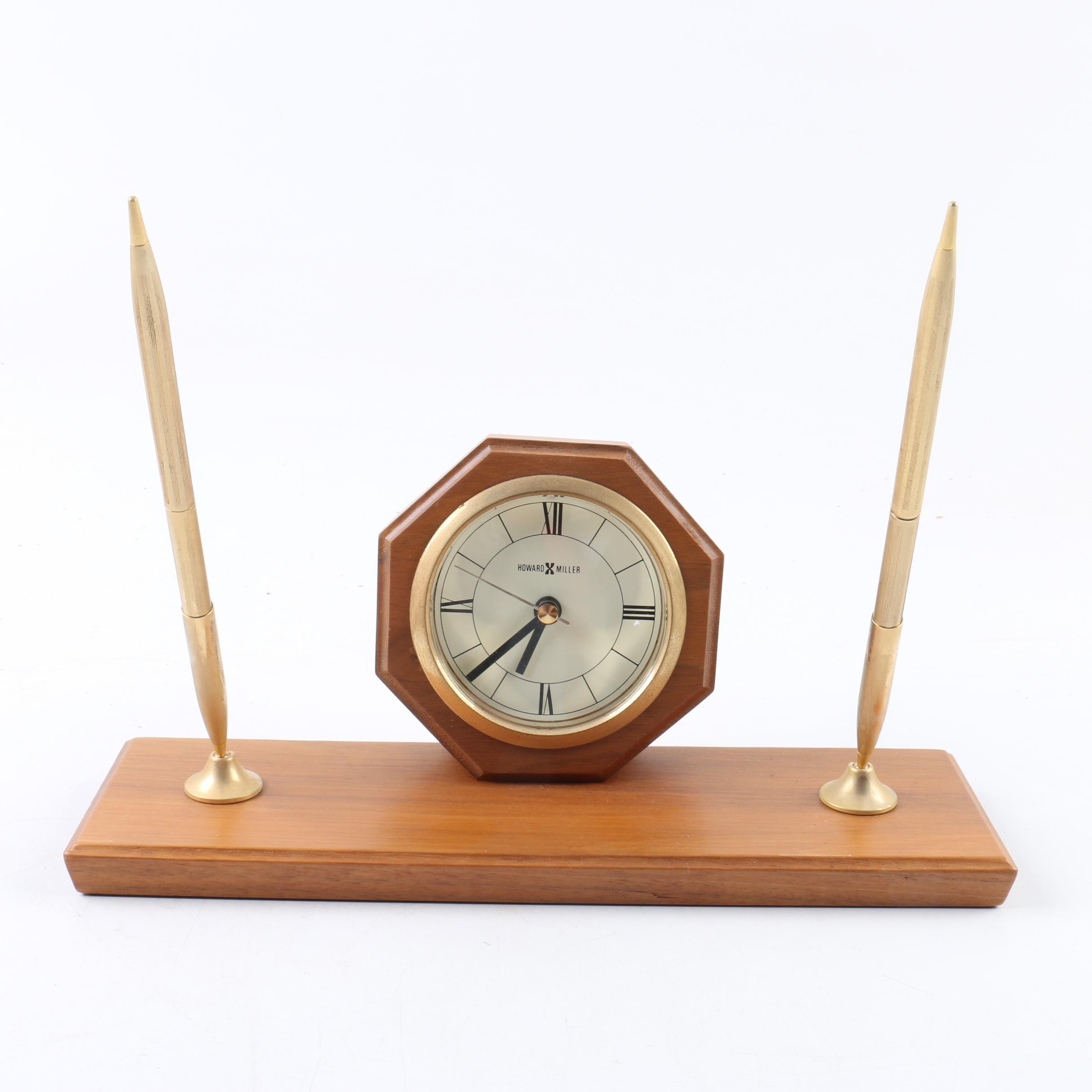 Howard Miller Desk Clock and Pen Set