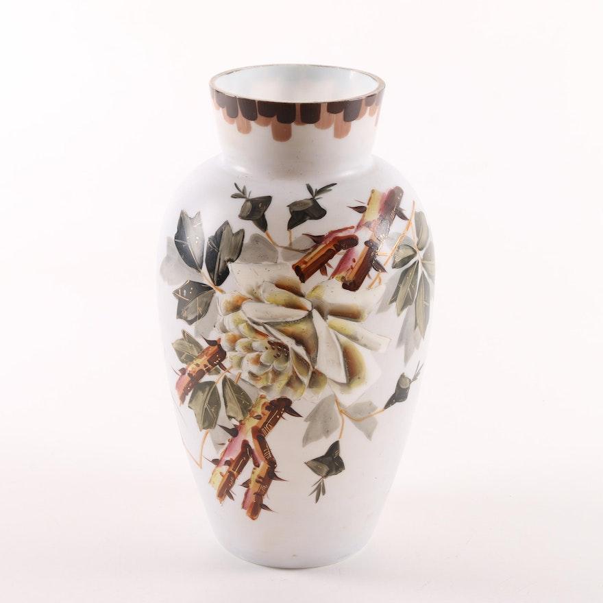 Vintage Hand Painted Milk Glass Vase Ebth