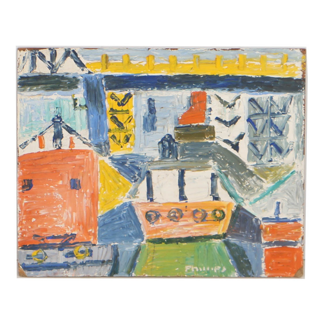 Esther Phillips Abstract Oil Painting on Board of Gowanus Canal