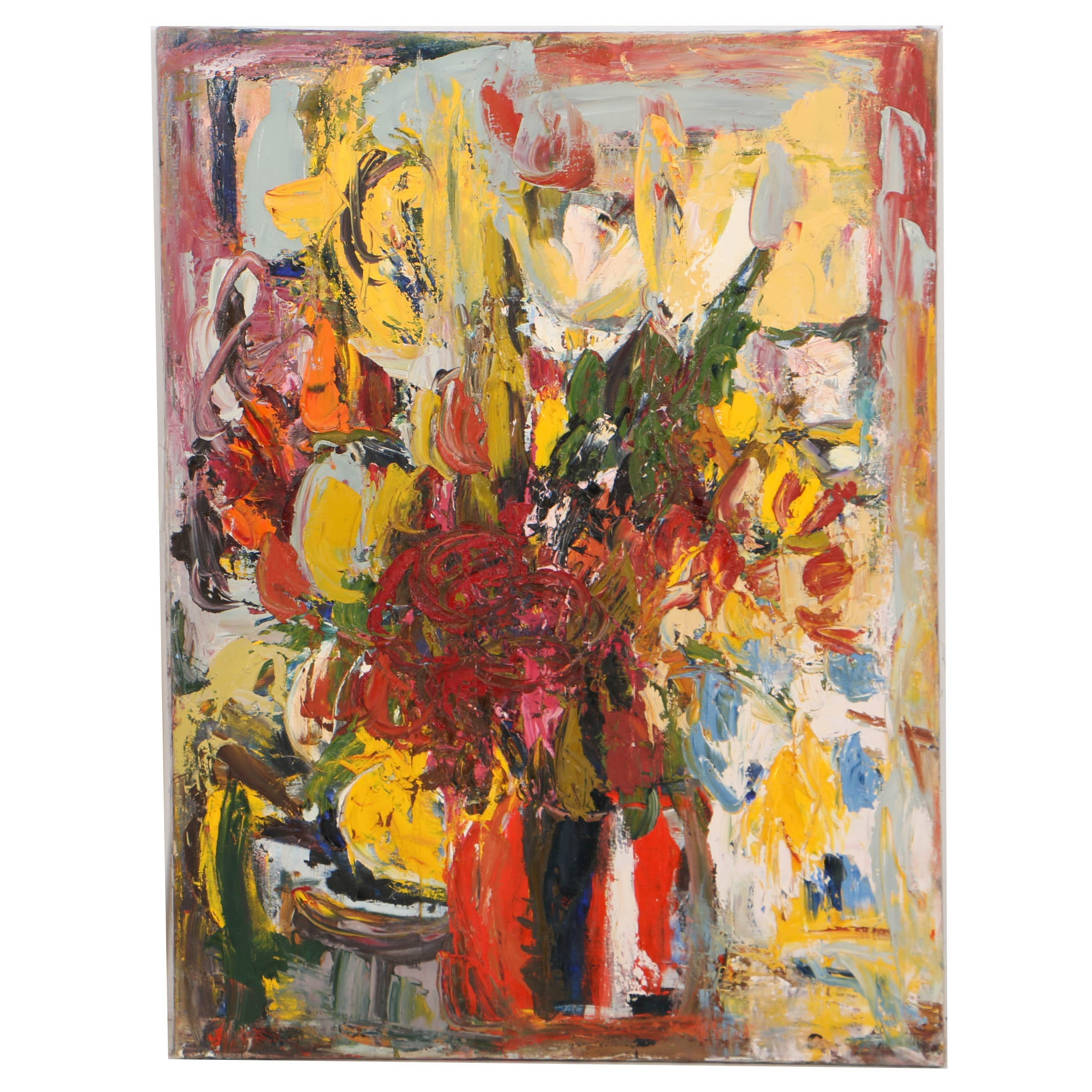 Louis Papp Oil Painting on Canvas Abstract Floral Still Life