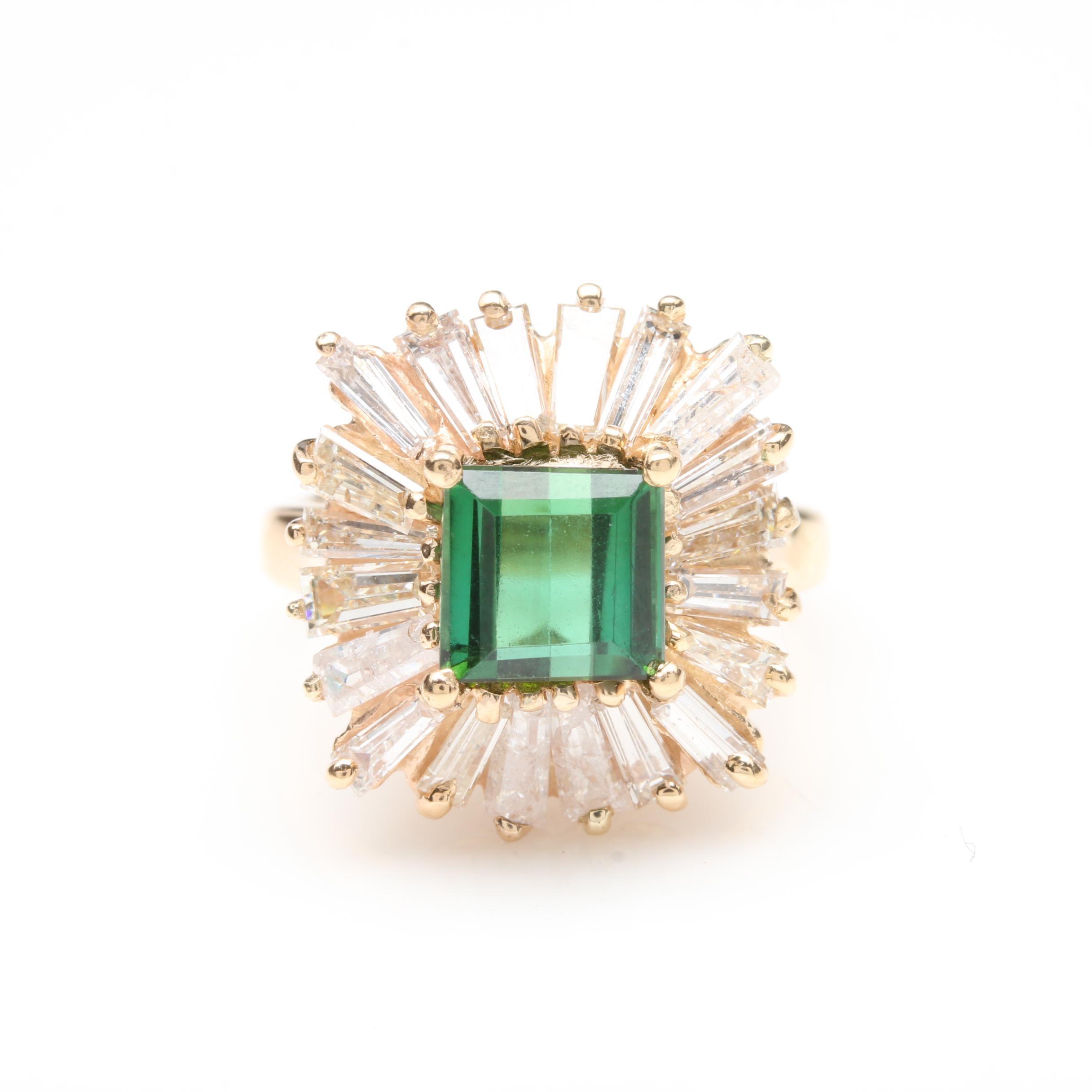 14K Yellow Gold Green Tourmaline, Cubic Zirconia, and 1.28 CTW Diamond Halo Ring