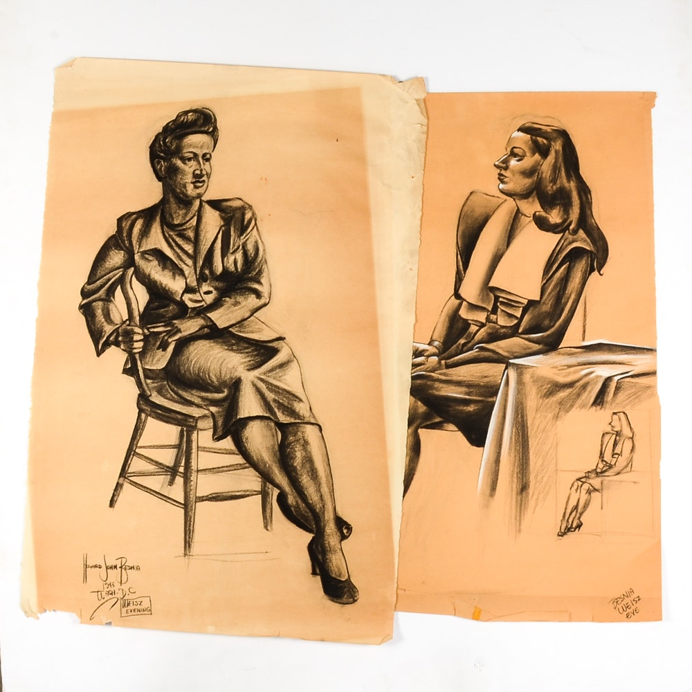 Two Howard John Besnia Vintage Original Charcoal Figure Drawing on Paper