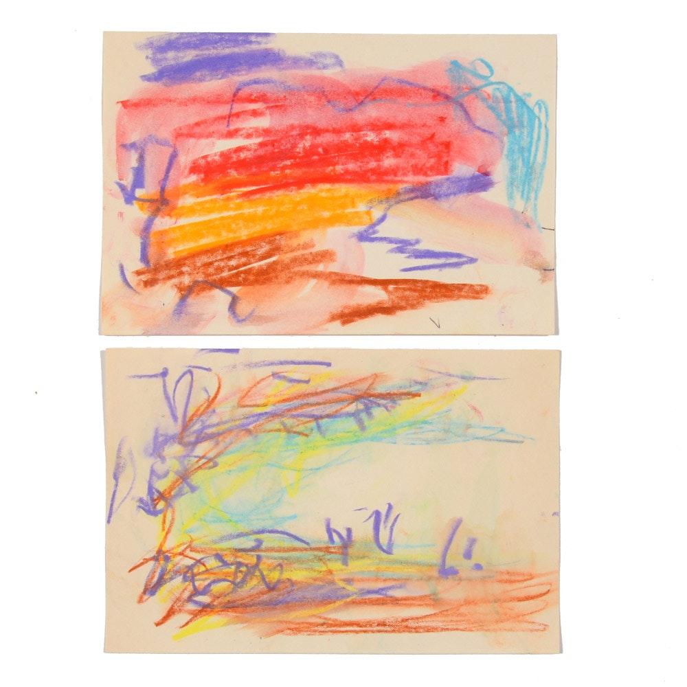 Pair of Paul Chidlaw Original Miniature Pastel Drawings