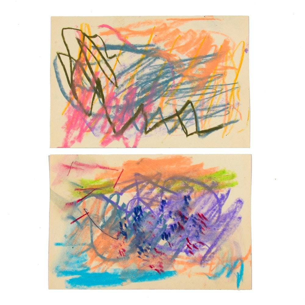 Pair of Original Paul Chidlaw Pastel Drawings on Paper