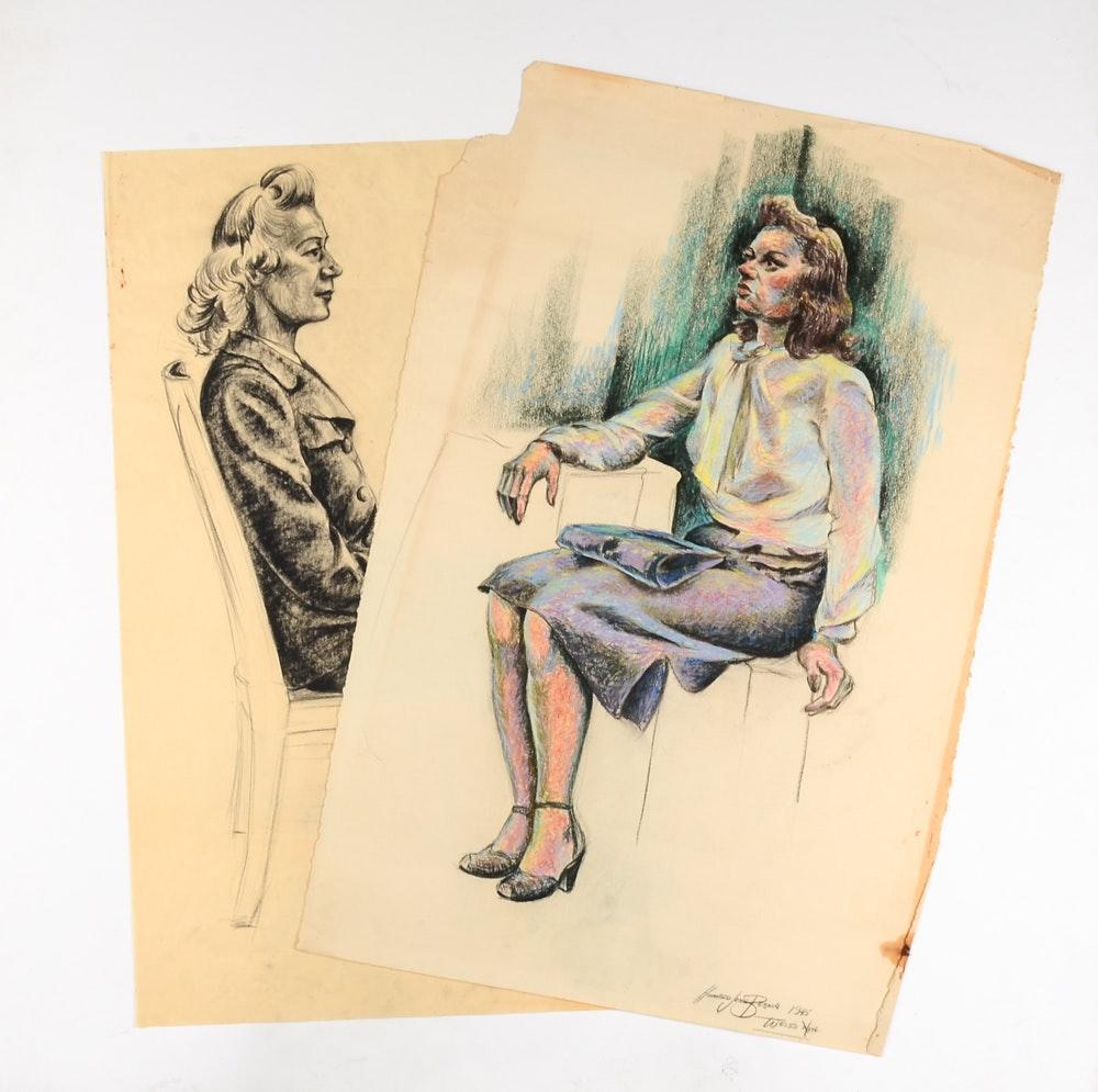 Two Howard John Besnia Vintage Figure Drawings on Paper
